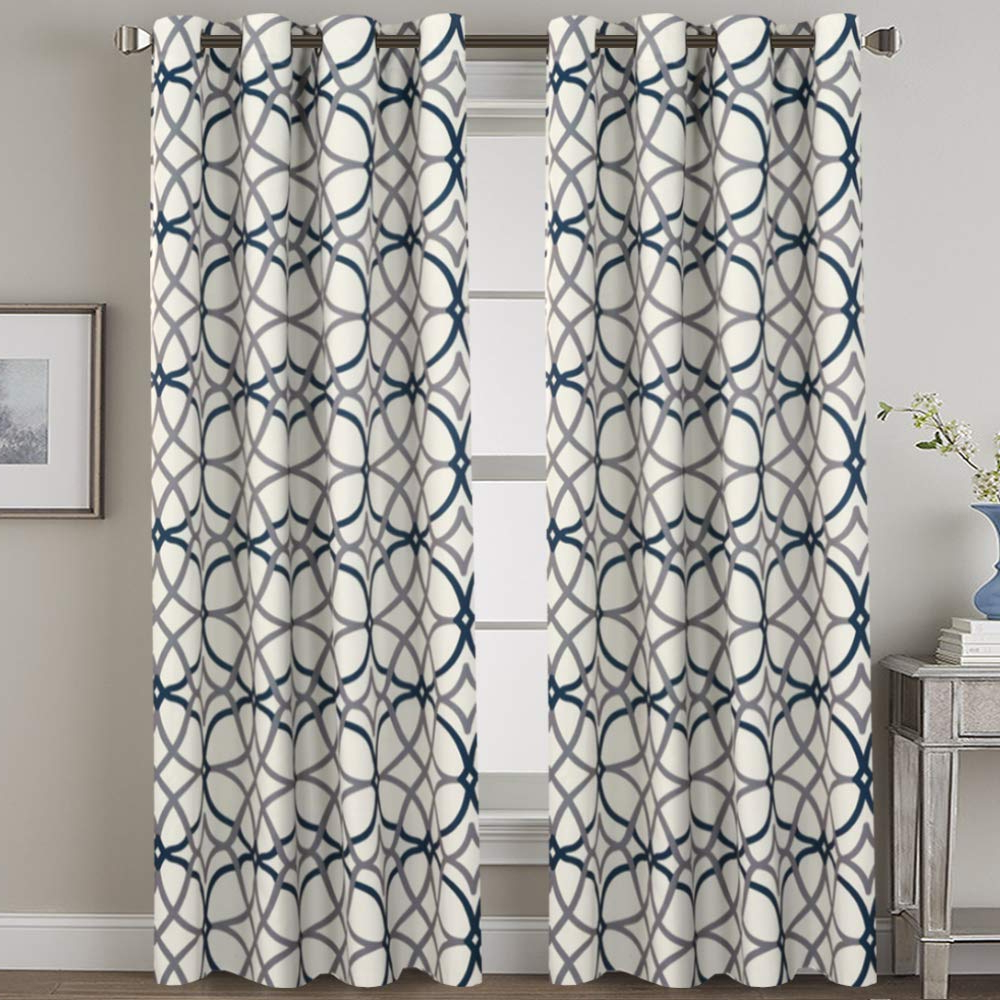 H.versailtex Blackout Curtains 108 Inches Long – Home Fashion Grey And Navy  Geo Pattern Energy Saving Window Treatment Grommet Extra Long Curtain Within Fashionable Ultimate Blackout Short Length Grommet Panels (Gallery 13 of 20)