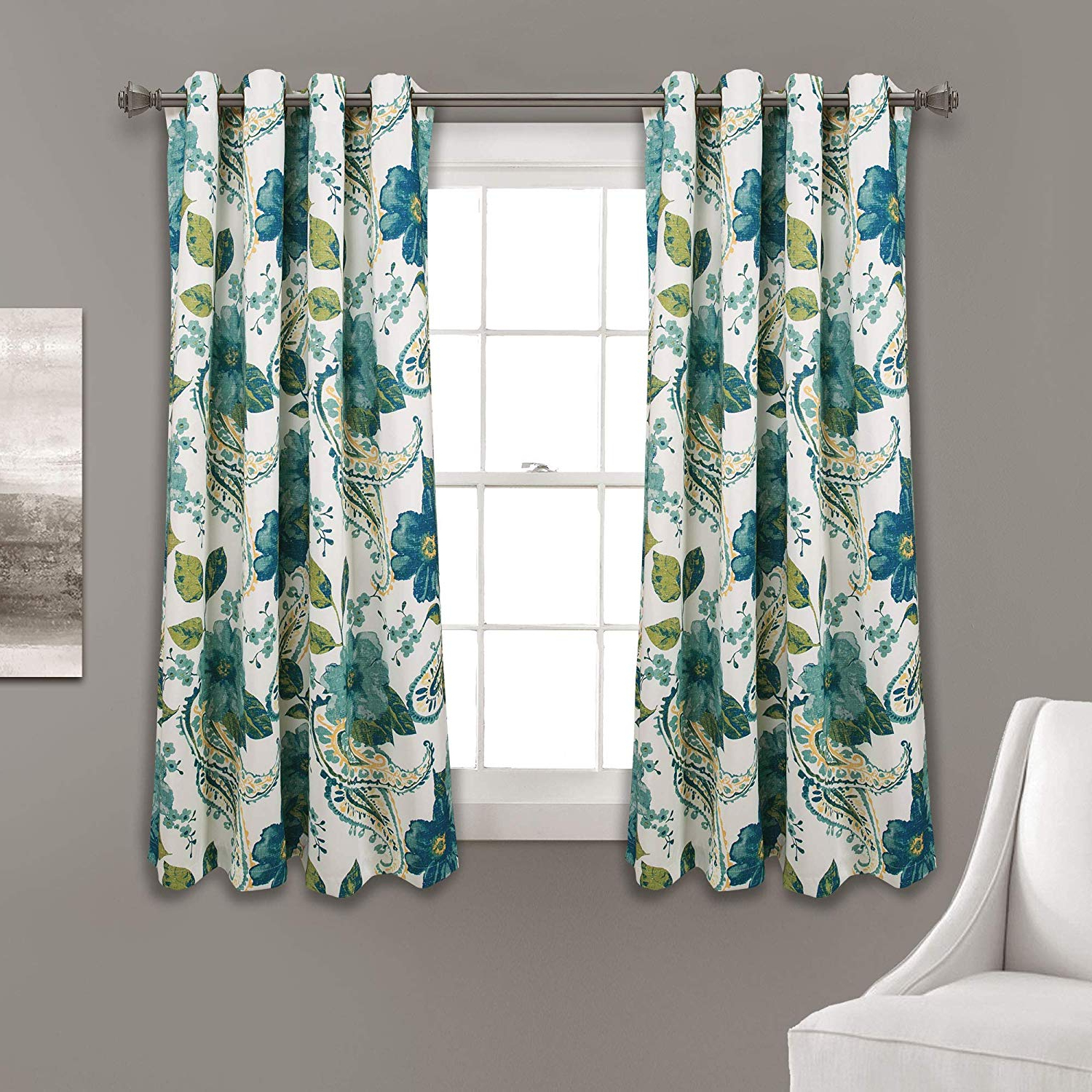 Half Moon Floral Paisley Room Darkening Window Curtain Panels Blue 52x63 Set With Regard To Most Recent Weeping Flowers Room Darkening Curtain Panel Pairs (View 17 of 20)