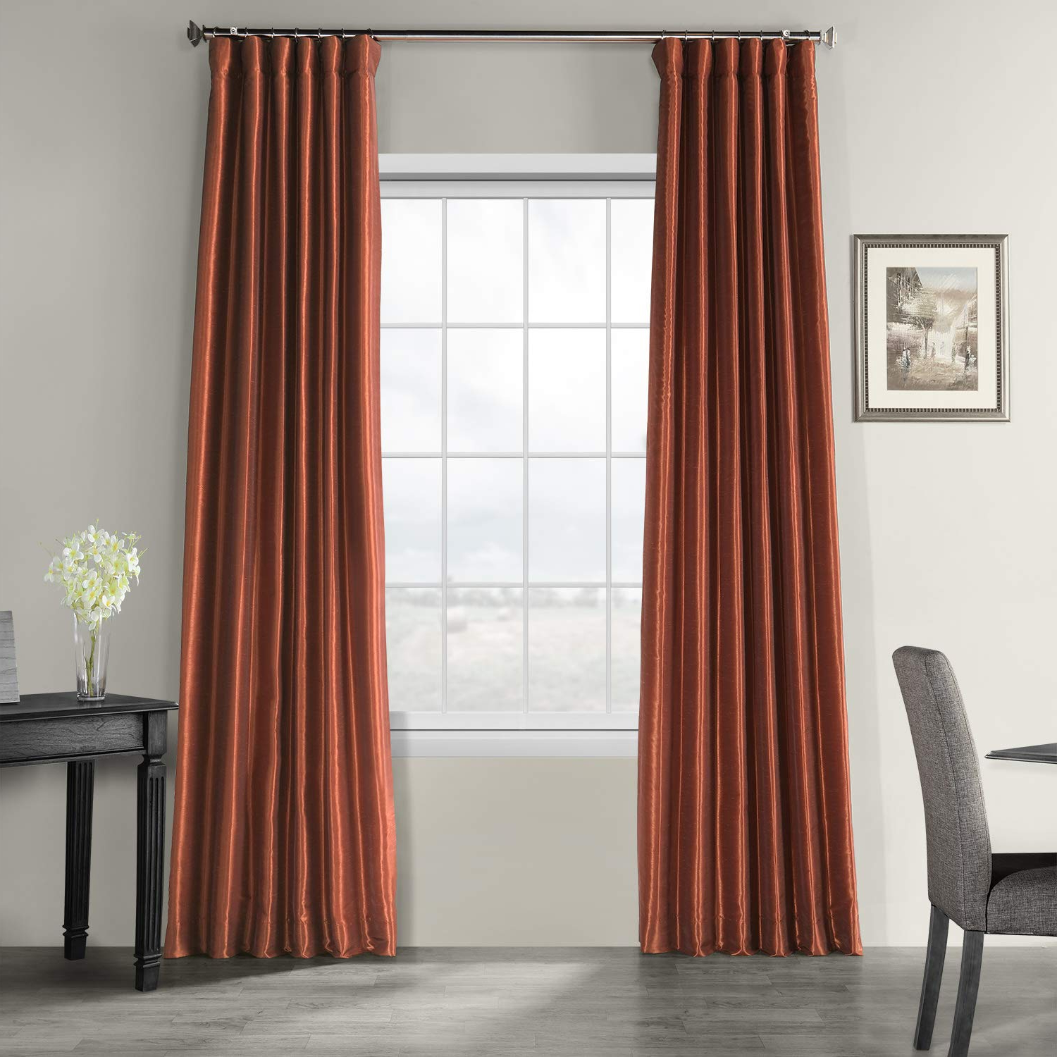 Half Price Drapes Pdch Kbs16 96 Vintage Textured Faux Dupioni Silk Curtain,  50 X 96, Burnt Orange Inside Well Liked Silver Vintage Faux Textured Silk Curtain Panels (View 6 of 20)