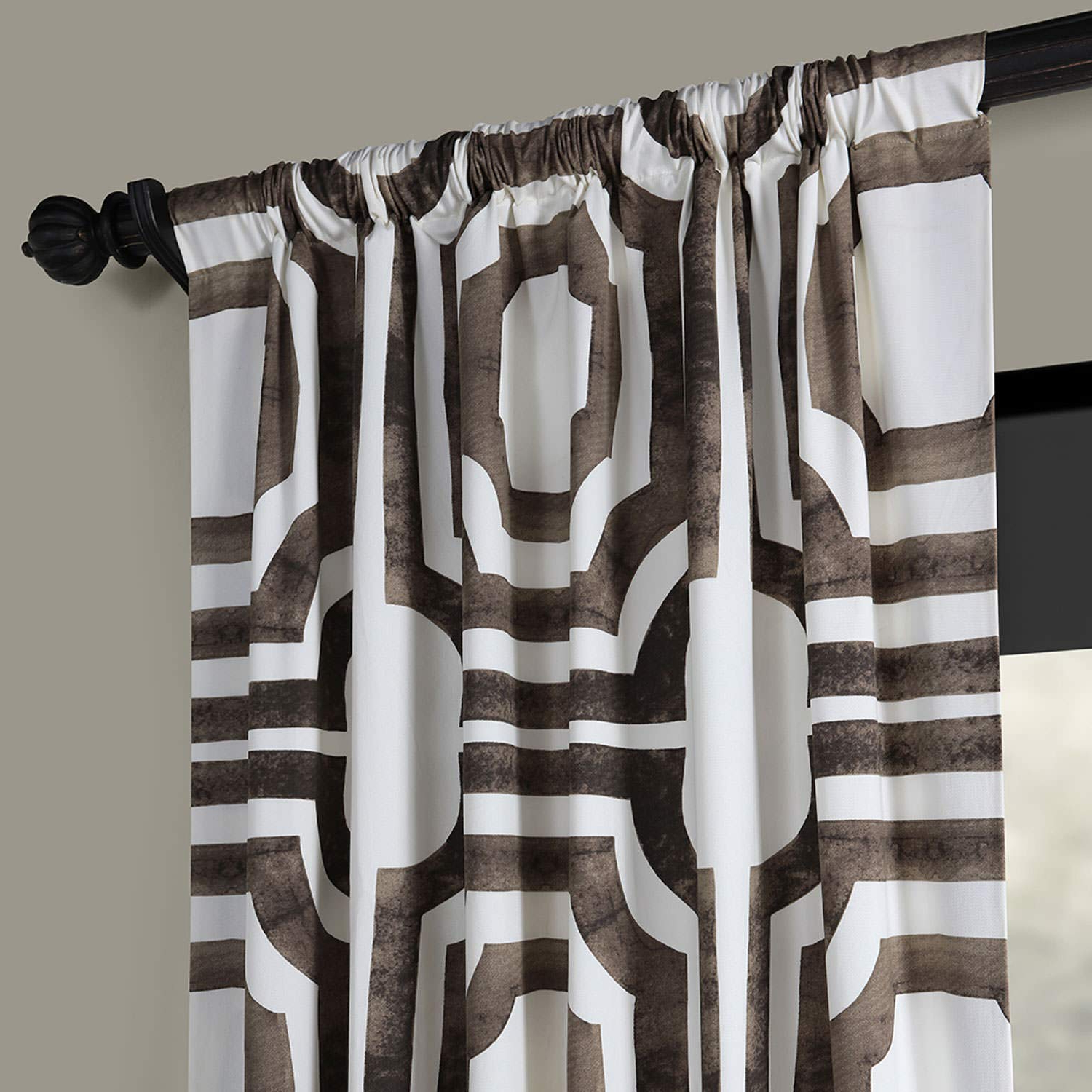 Half Price Drapes Prtw D23 96 Mecca Printed Cotton Curtain, 50 X 96, Brown Regarding Newest Mecca Printed Cotton Single Curtain Panels (Gallery 1 of 21)