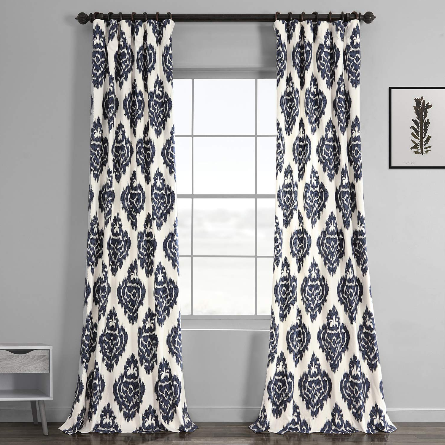 Featured Photo of Ikat Blue Printed Cotton Curtain Panels