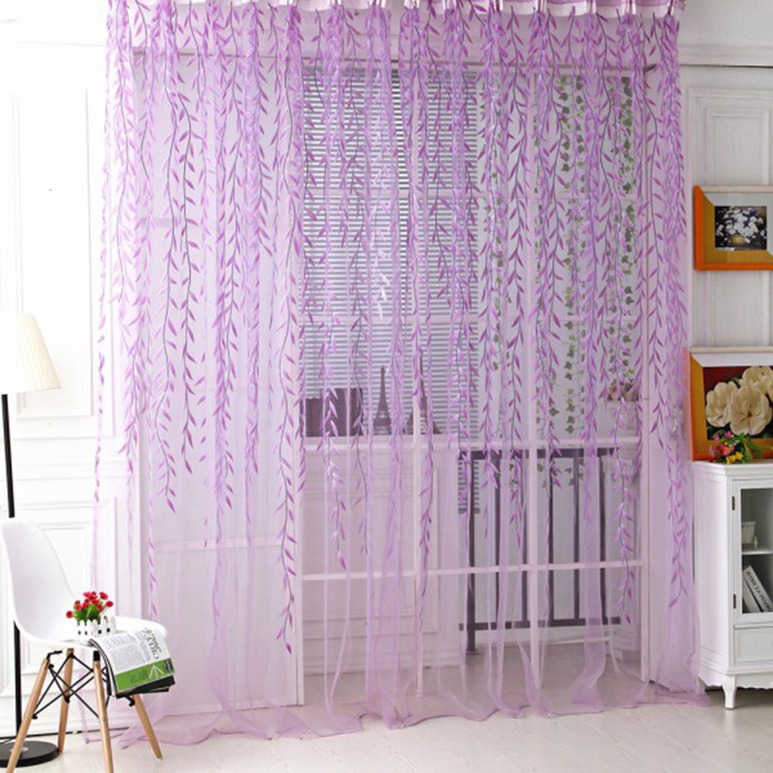 """Haoun 2Pcs Willow Window Panels Drapes Curtains Sheer Voile Tulle Home Room  39.4X78.8"""" (Purple) With Newest Willow Rod Pocket Window Curtain Panels (Gallery 18 of 20)"""