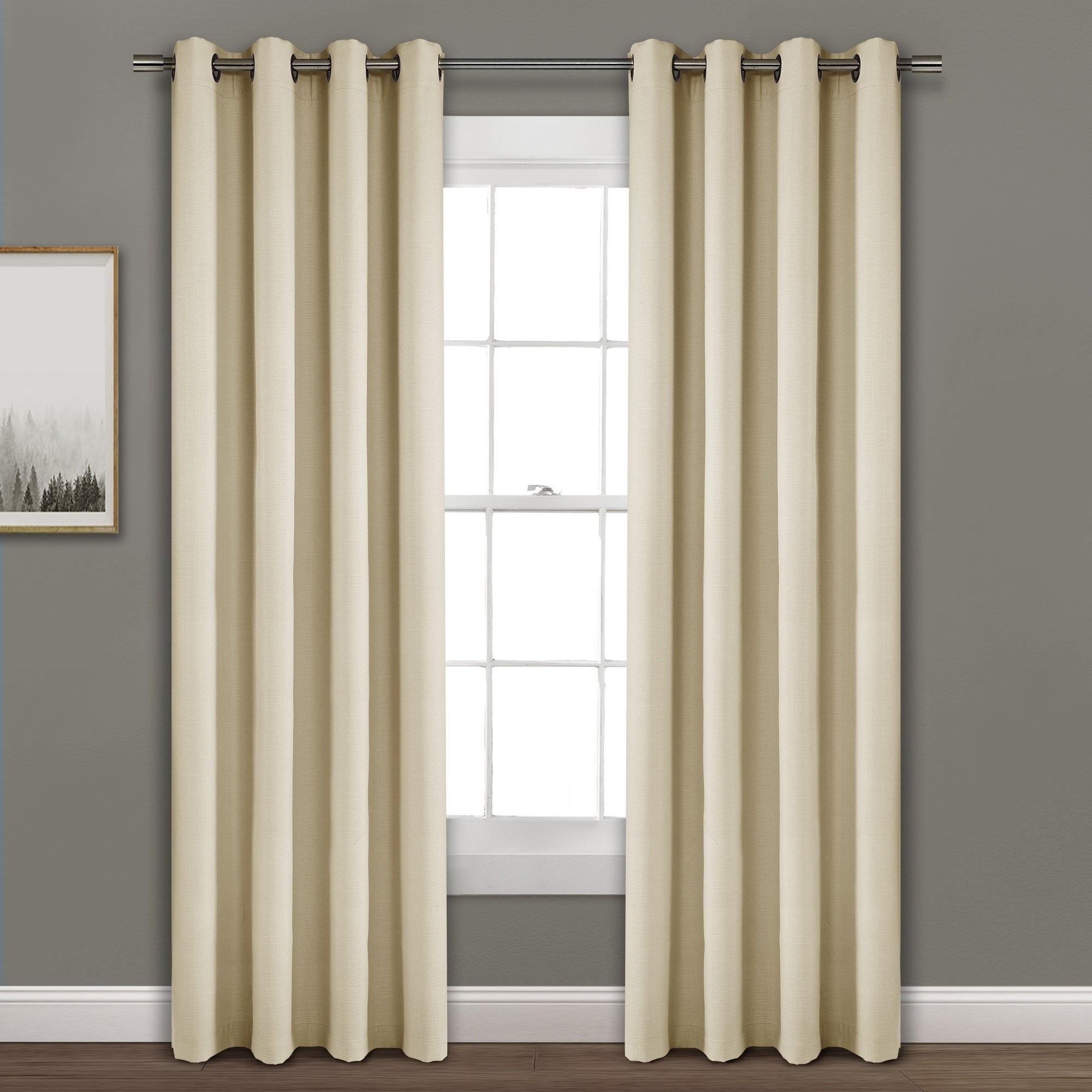 Hayden Grommet Blackout Single Curtain Panels Pertaining To Popular Porch & Den Limpus Faux Linen Grommet Top Blackout Curtain Panel (Gallery 4 of 20)