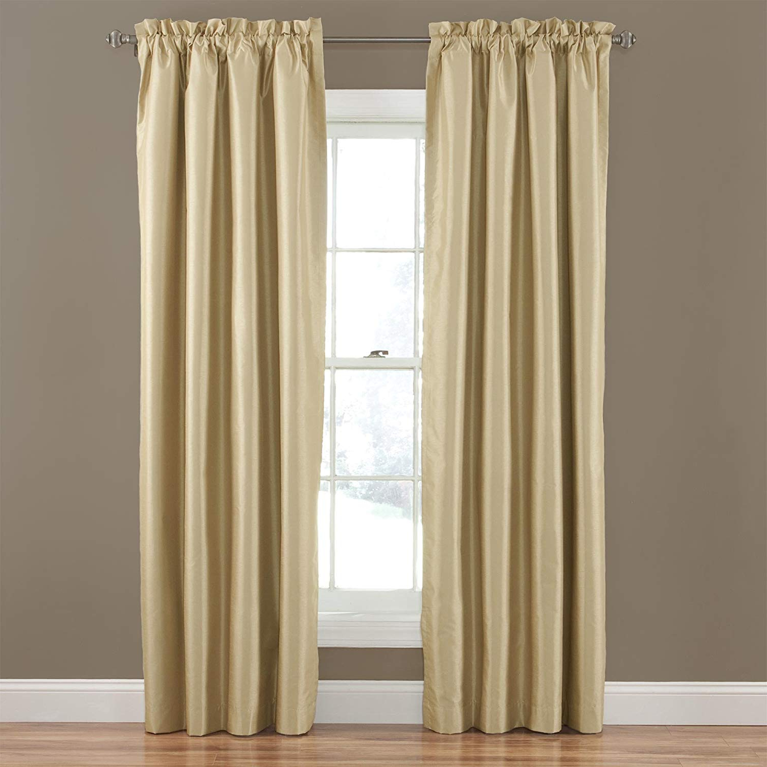 Hayden Rod Pocket Blackout Panels Throughout Current Eclipse Hayden Solid Blackout Window Curtain Panel, 4295 Inch, Gold (View 18 of 20)