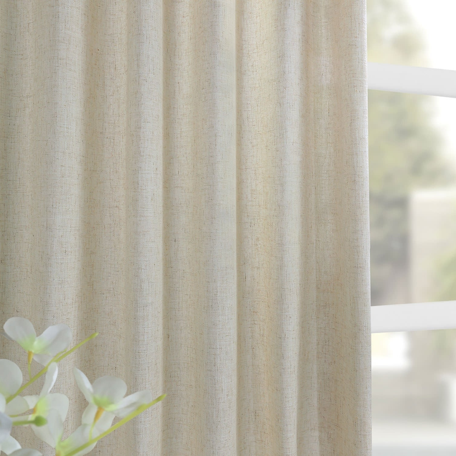 Heavy Faux Linen Single Curtain Panel Within Favorite Heavy Faux Linen Single Curtain Panels (Gallery 9 of 20)