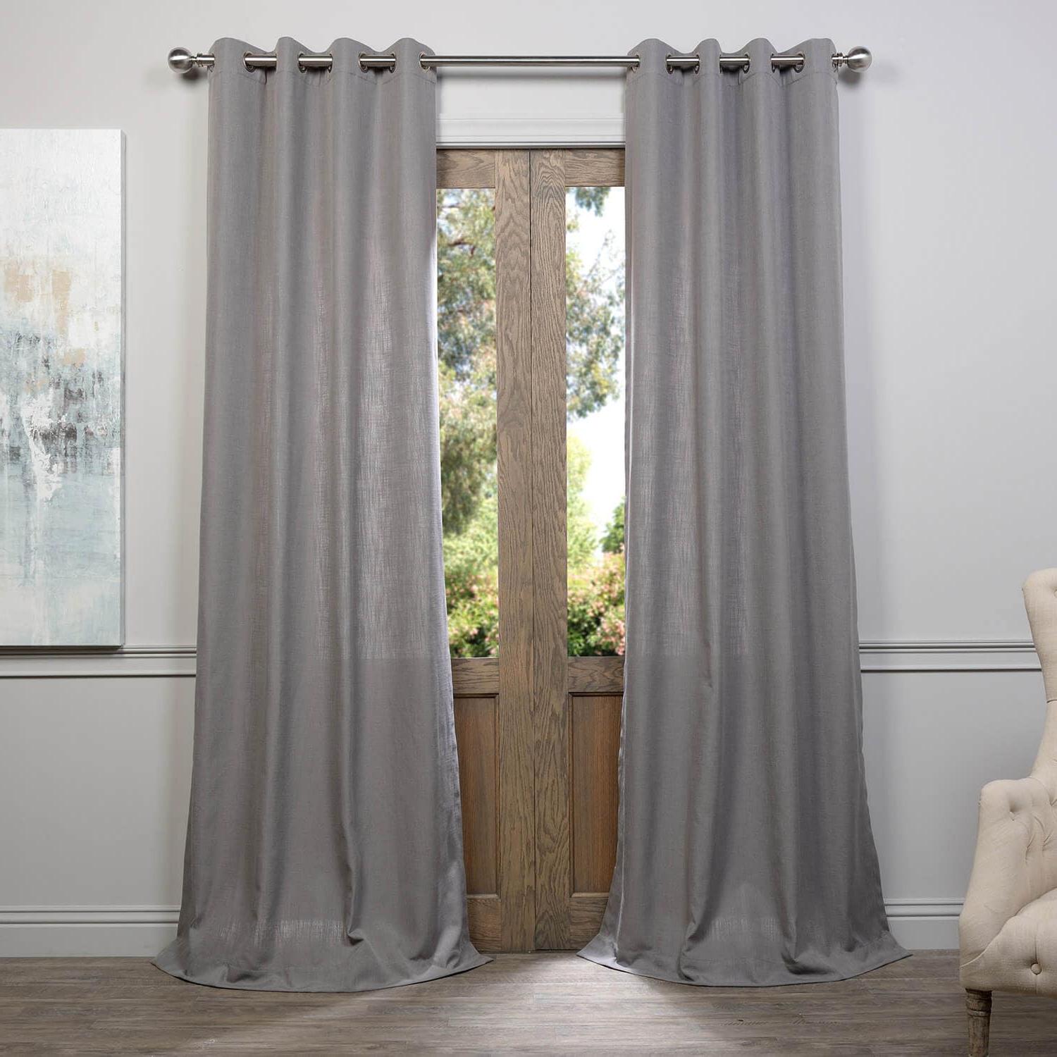 Heavy Faux Linen Single Curtain Panels Inside Latest Pewter Grey Grommet Heavy Faux Linen Curtain (View 17 of 20)