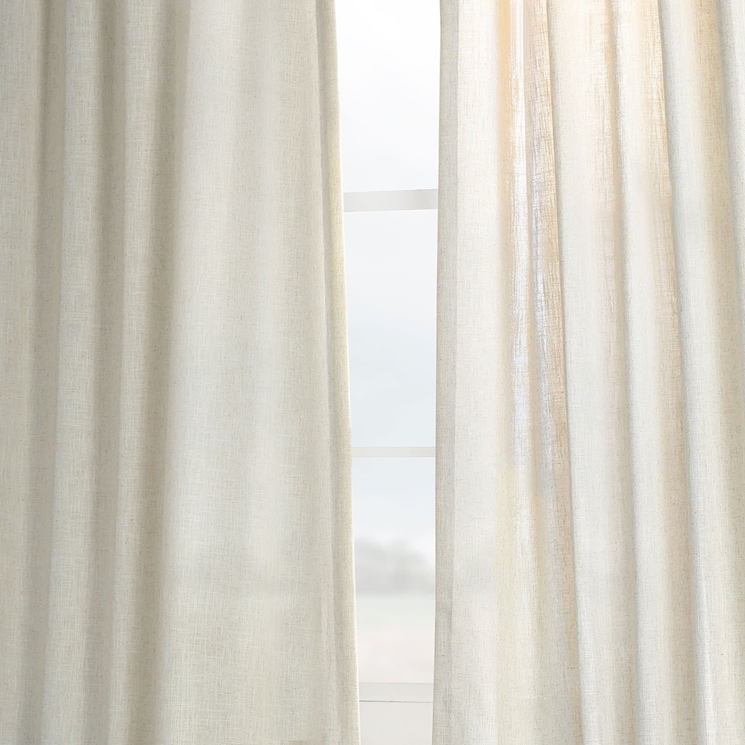 Heavy Faux Linen Single Curtain Panels Pertaining To Famous Heavy Faux Linen Single Curtain Panel (View 7 of 20)