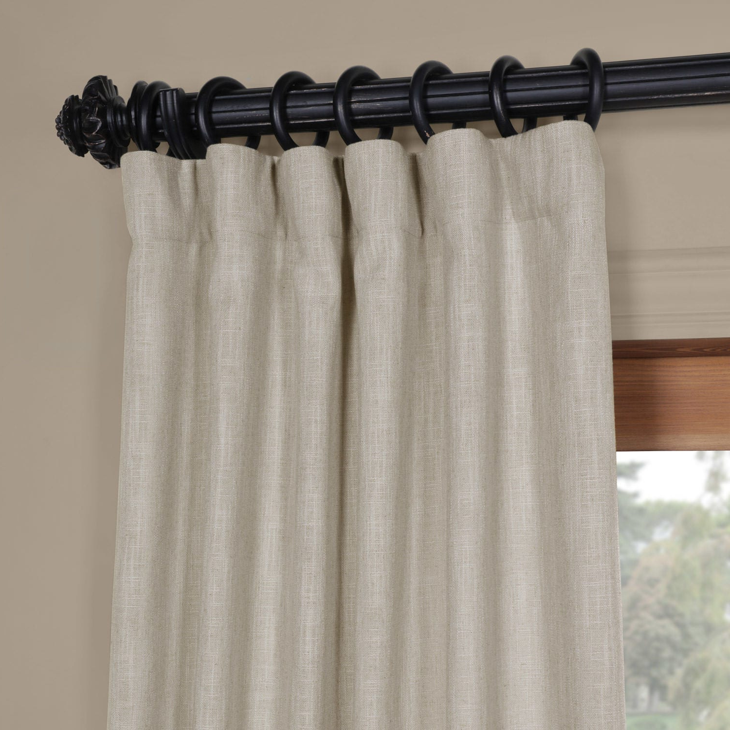 Heavy Faux Linen Single Curtain Panels Pertaining To Well Liked Half Price Drapes Solid Heavy Faux Linen Rod Pocket Single Curtain Panel (View 6 of 20)