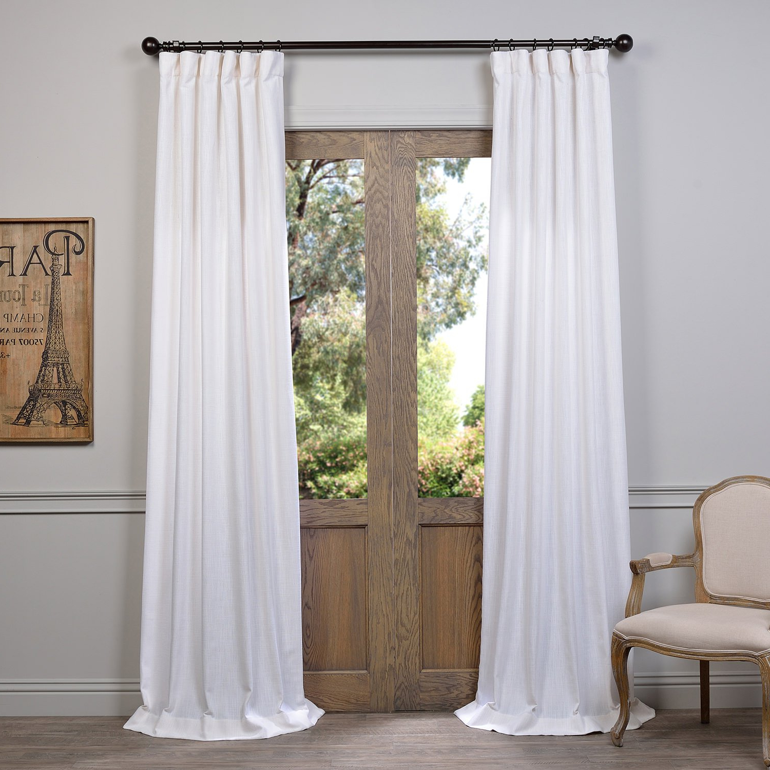 Heavy Faux Linen Single Curtain Panels Throughout Favorite Half Price Drapes Fhlch Vet13191 84 Heavy Faux Linen Curtain, 50 X 84, White (View 2 of 20)