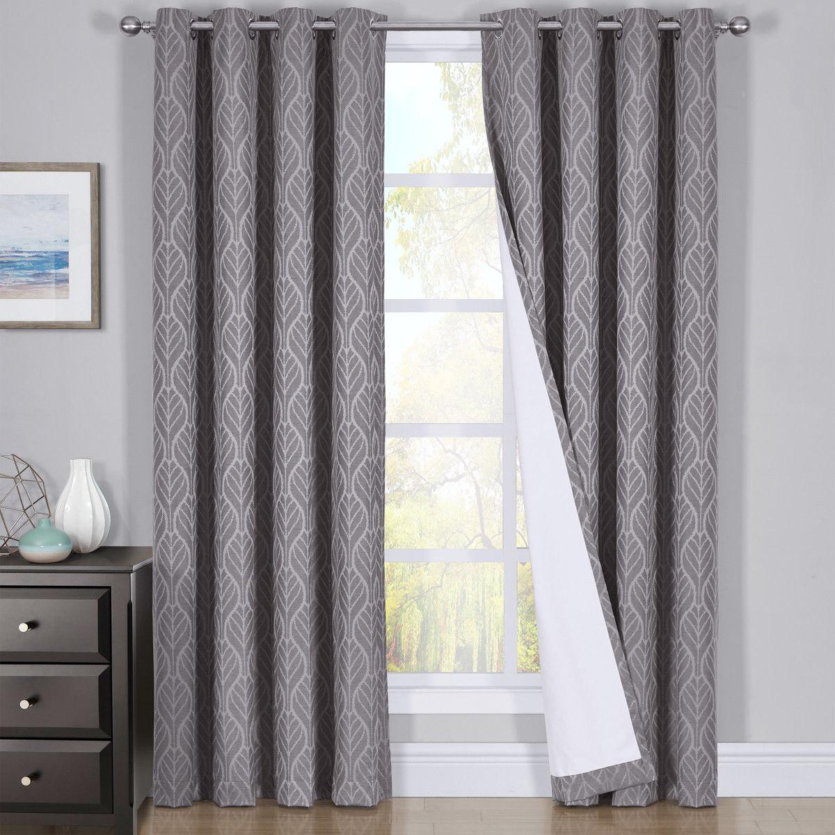 Hilton Blackout Curtains Panels Jacquard Thermal Insulated Pairs For Trendy Thermal Insulated Blackout Curtain Pairs (View 9 of 20)