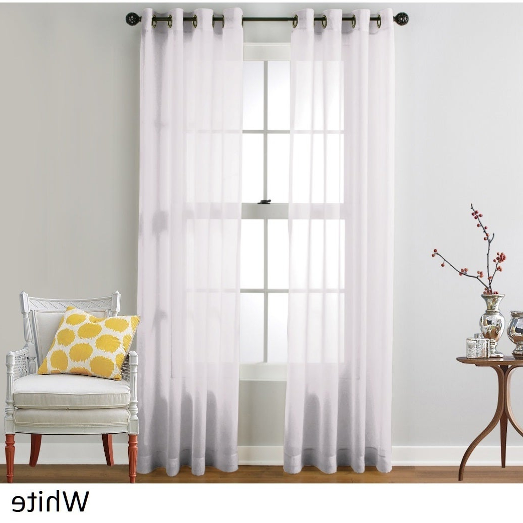 Hlc Sheer Voile Grommet Top Curtain Panel Pair Within Most Popular Luxury Collection Venetian Sheer Curtain Panel Pairs (View 2 of 20)