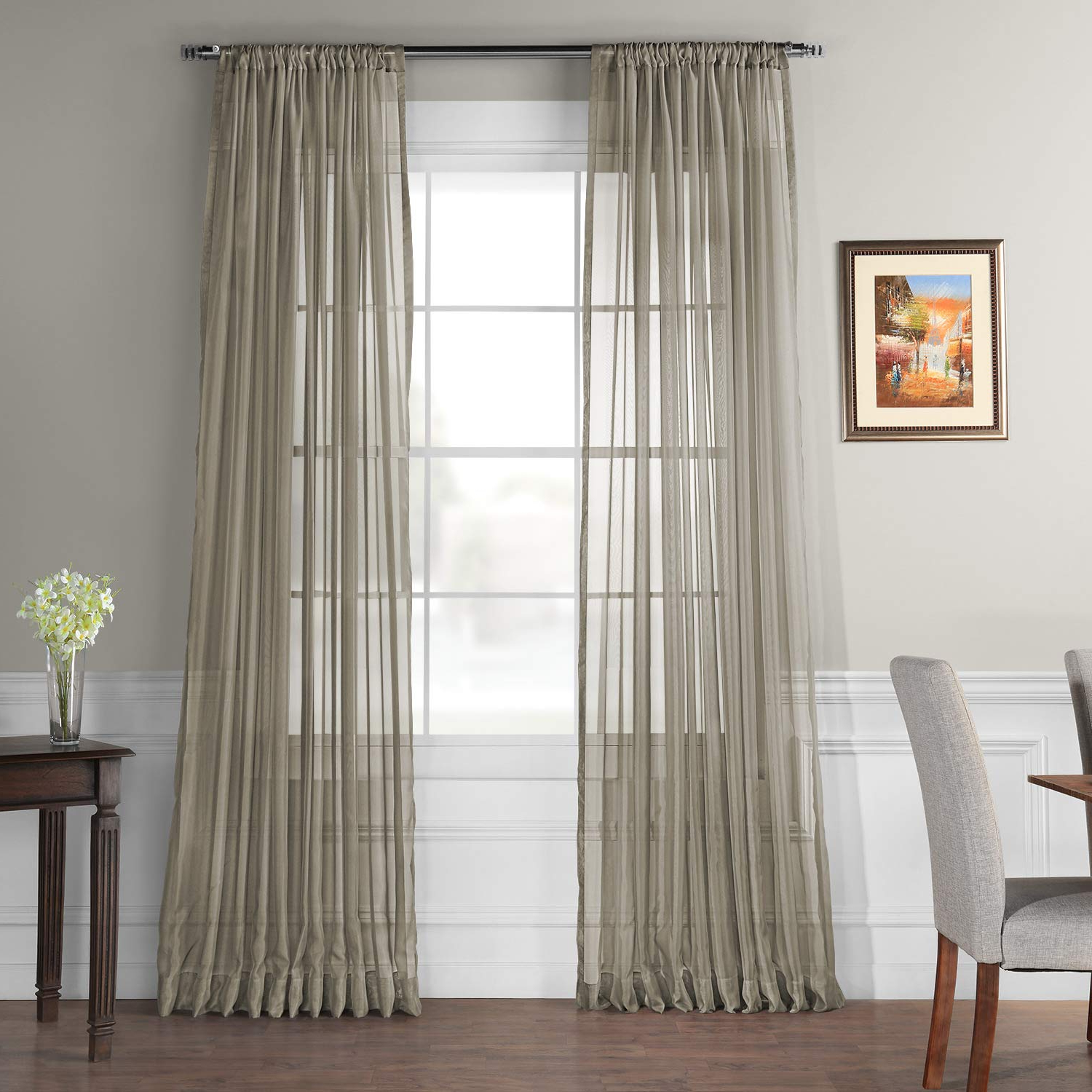 Hpd Half Price Drapes Extra Wide Solid Voile Poly Sheer Curtain, Museum Grey (grey) Within Latest Signature Extrawide Double Layer Sheer Curtain Panels (View 15 of 20)