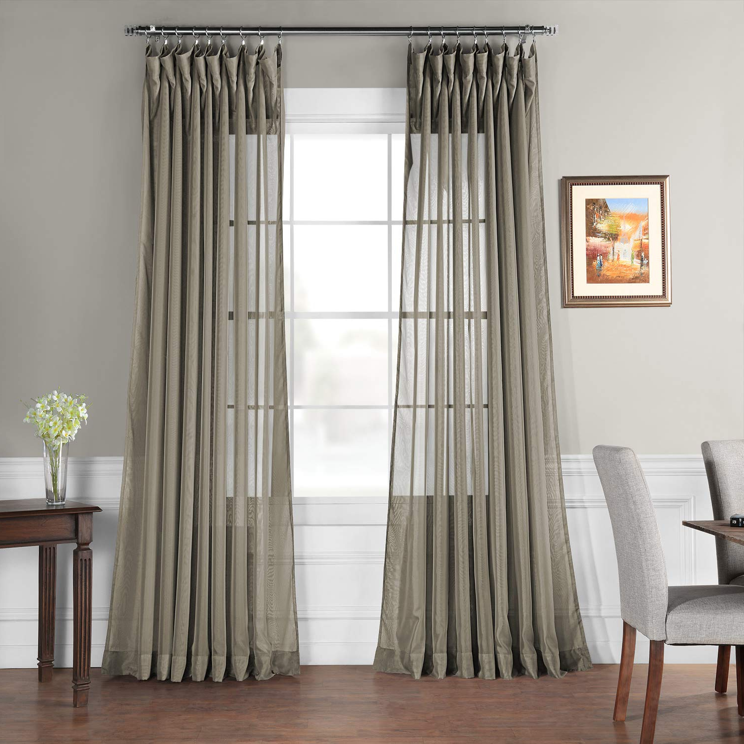Hpd Half Price Drapes Signature Extra Wide Sheer Curtain, Museum Grey (Grey) In Widely Used Signature White Double Layer Sheer Curtain Panels (Gallery 20 of 20)