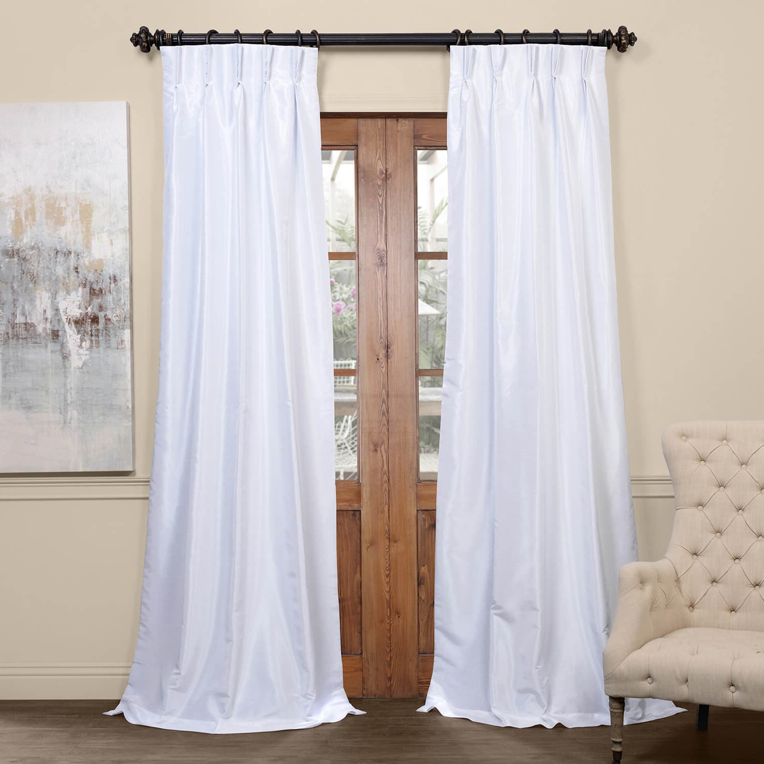 Ice Blackout Vintage Textured Faux Dupioni Pleated Curtain Intended For Widely Used Vintage Textured Faux Dupioni Silk Curtain Panels (View 20 of 20)