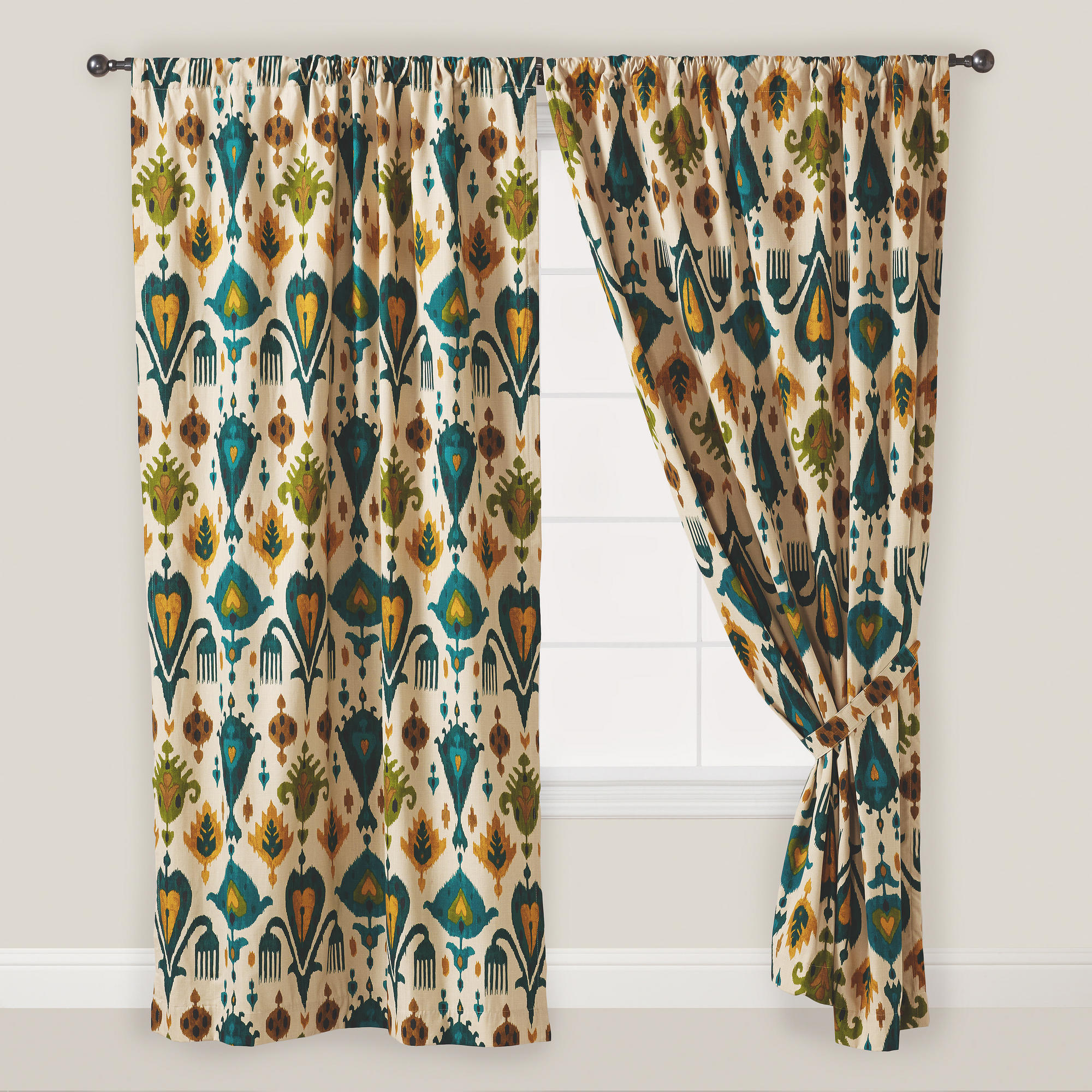 Ikat Blue Printed Cotton Curtain Panels Intended For Well Known Home Decor (View 16 of 20)