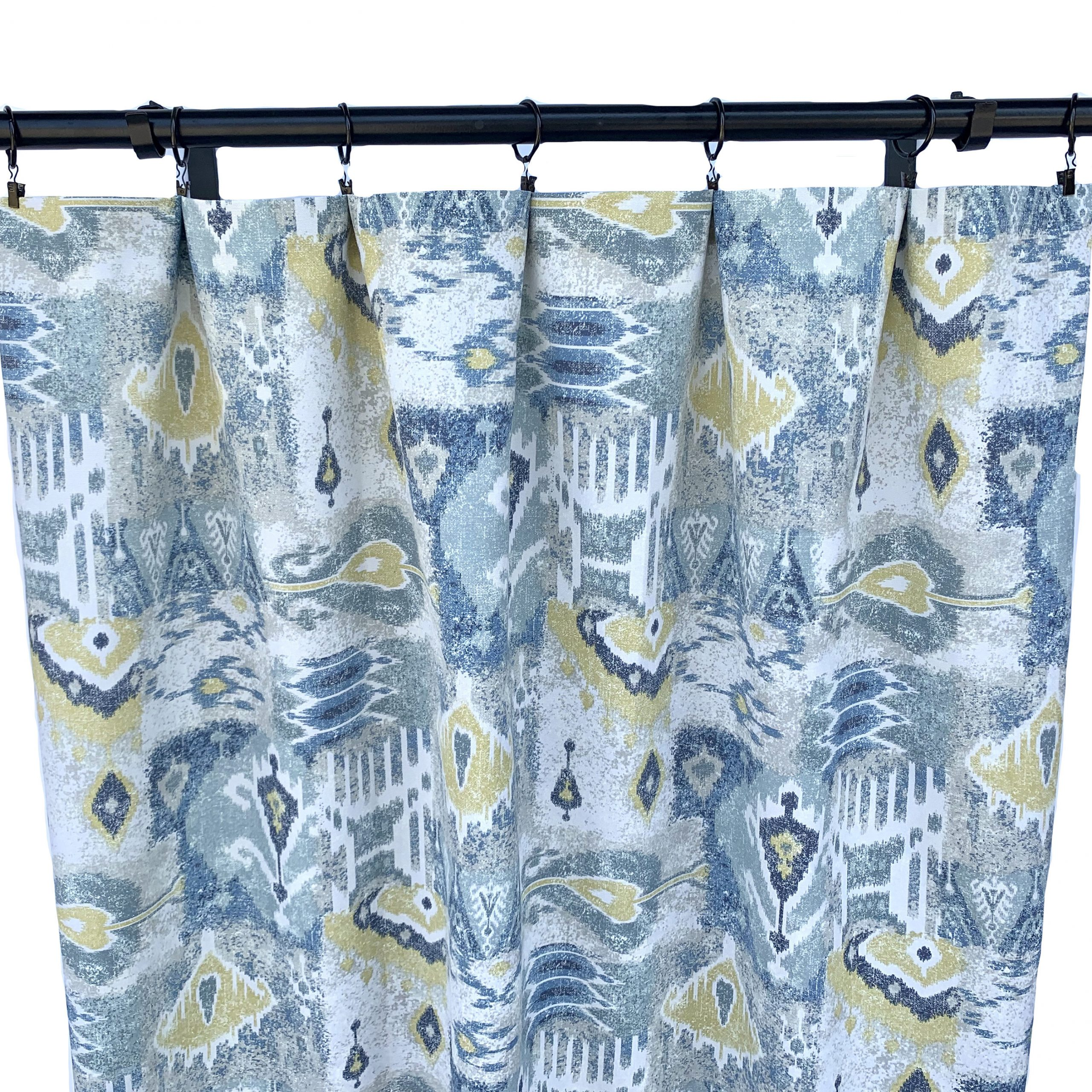 Ikat Blue Printed Cotton Curtain Panels Throughout Trendy Magnolia Curtains, Ikat Curtains, 2 Curtain Panels, Blue And Yellow Curtains, Home Decor, Geometric Curtain, 90's Curtains, Mid Century (View 17 of 20)