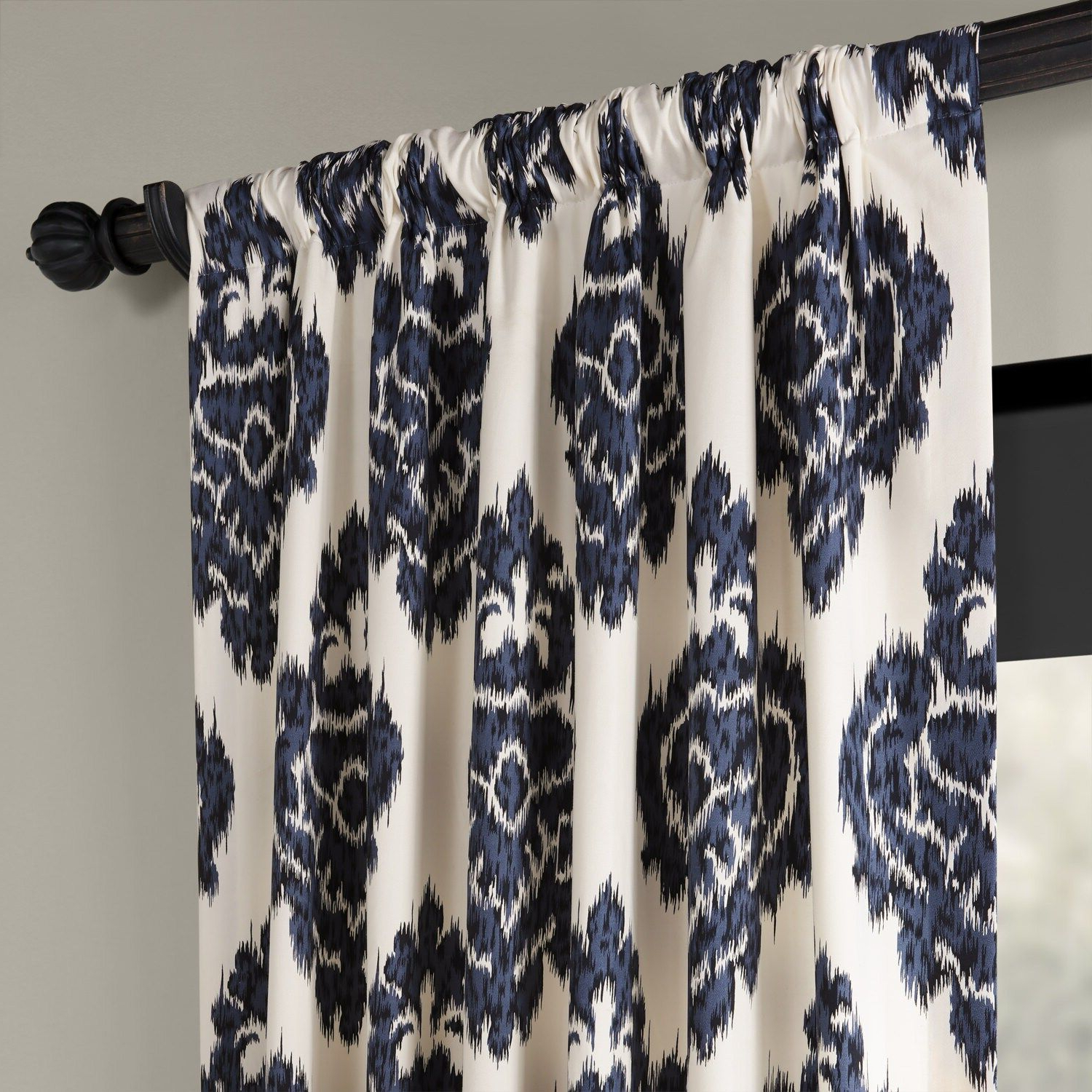 Ikat Blue Printed Cotton Curtain Panels With Regard To Newest Eff 1 Panel Ikat Lined Window Curtain (View 18 of 20)