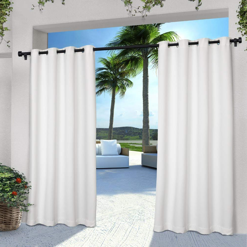 Indoor/outdoor Solid Cabana Grommet Top Curtain Panel Pairs For Most Recently Released Exclusive Home Curtains Indoor/outdoor Solid Cabana Window Curtain Panel Pair With Grommet Top, 54X96, Winter White, 2 Piece (View 3 of 20)