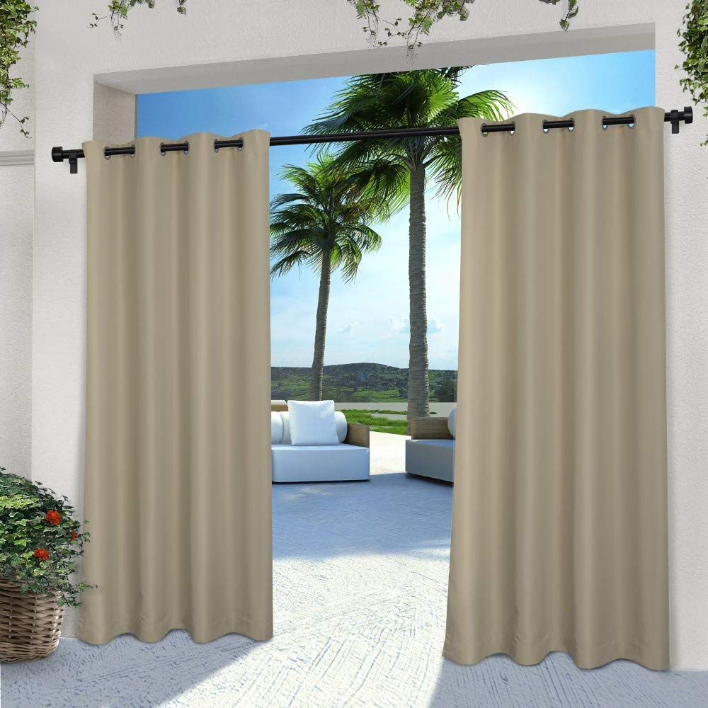 Indoor/outdoor Solid Cabana Grommet Top Curtain Panel Pairs Inside Latest Exclusive Home Curtains Indoor/outdoor Solid Cabana Window Curtain Panel Pair With Grommet Top, 54X96, Taupe, 2 Piece (View 2 of 20)