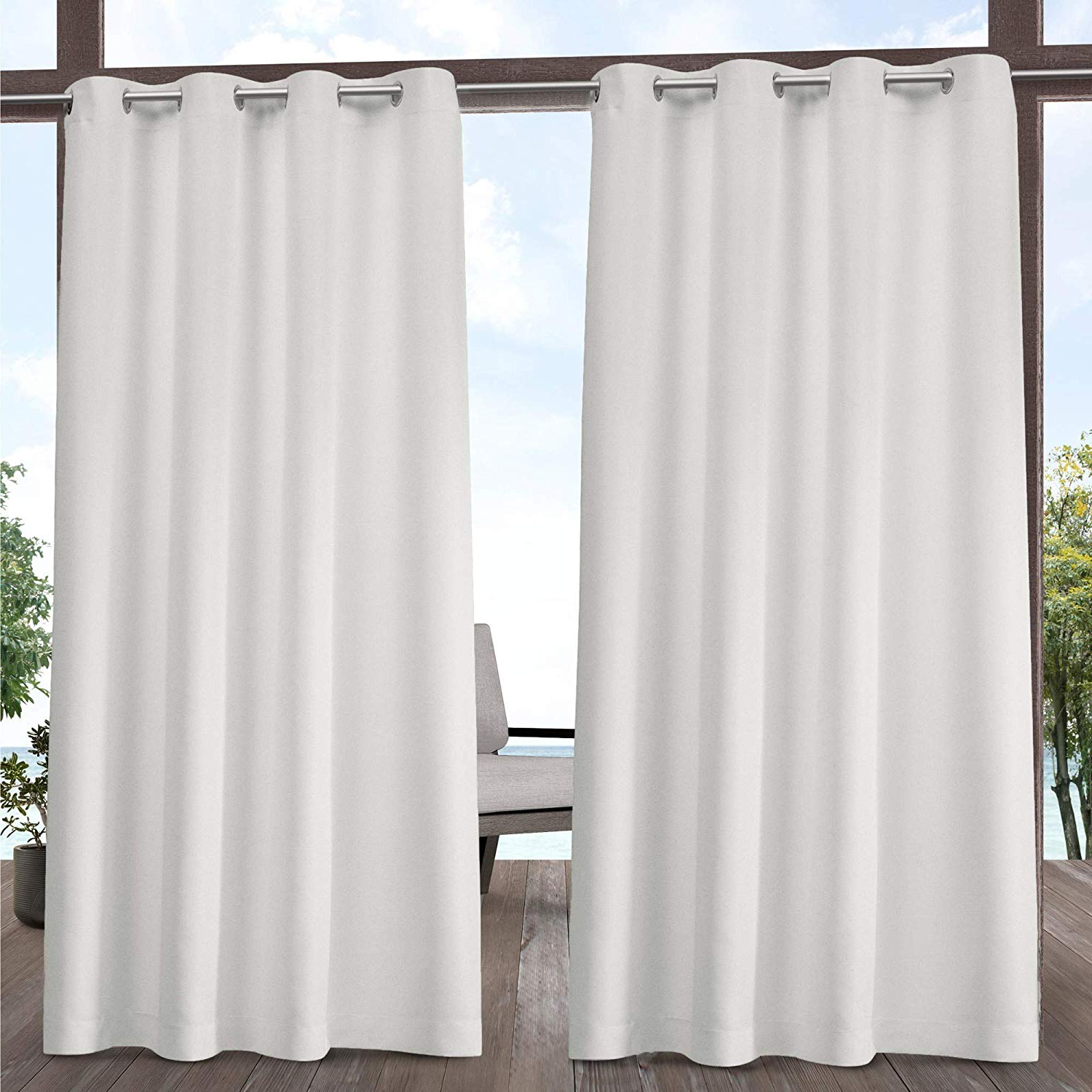 Indoor/outdoor Solid Cabana Grommet Top Curtain Panel Pairs Pertaining To 2021 Exclusive Home Curtains Indoor/outdoor Solid Panel Pair, 54X84, Vanilla (View 7 of 20)