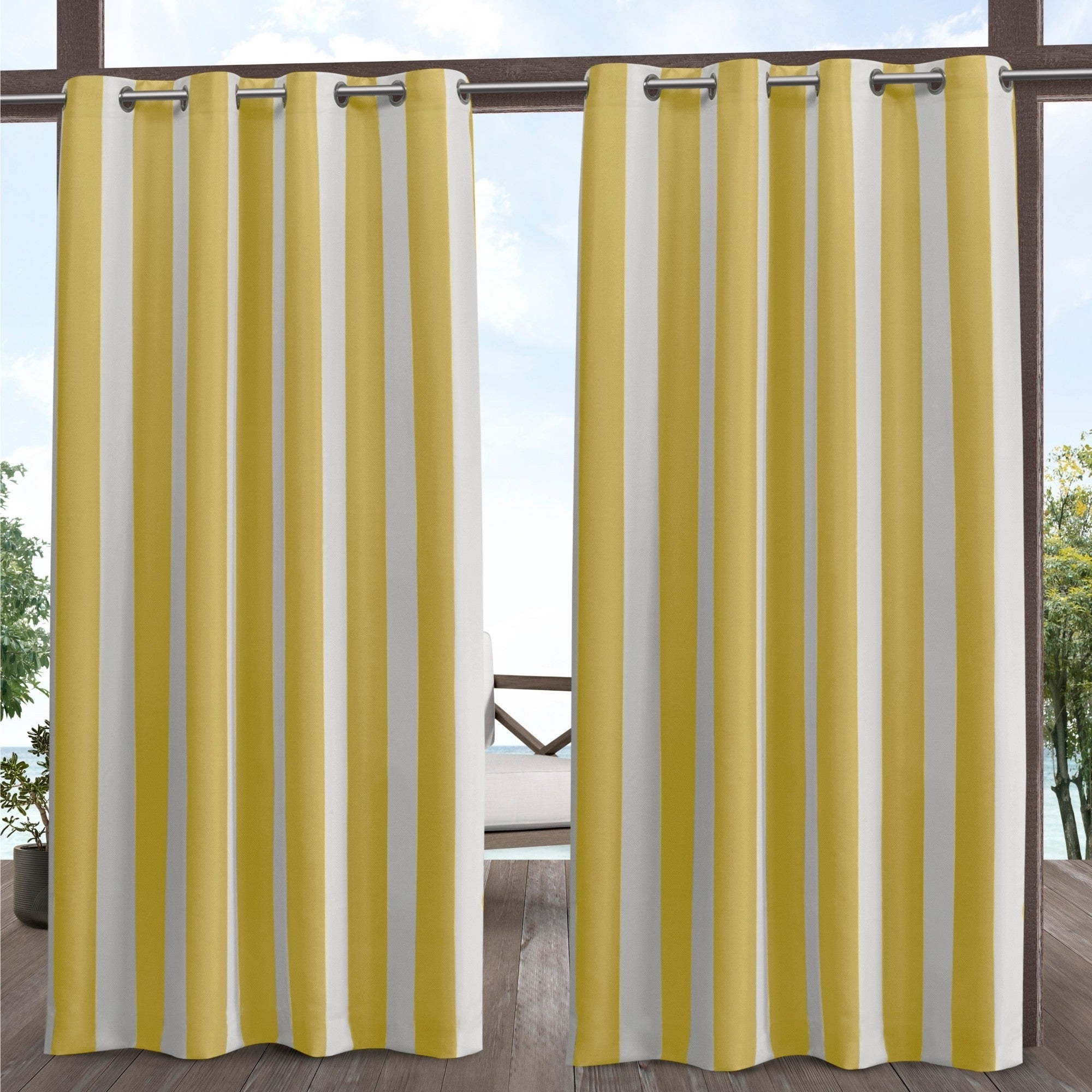 Indoor/outdoor Solid Cabana Grommet Top Curtain Panel Pairs Regarding Well Known Ati Home Canopy Stripe Outdoor Grommet Top Curtain Panel Pair (View 9 of 20)