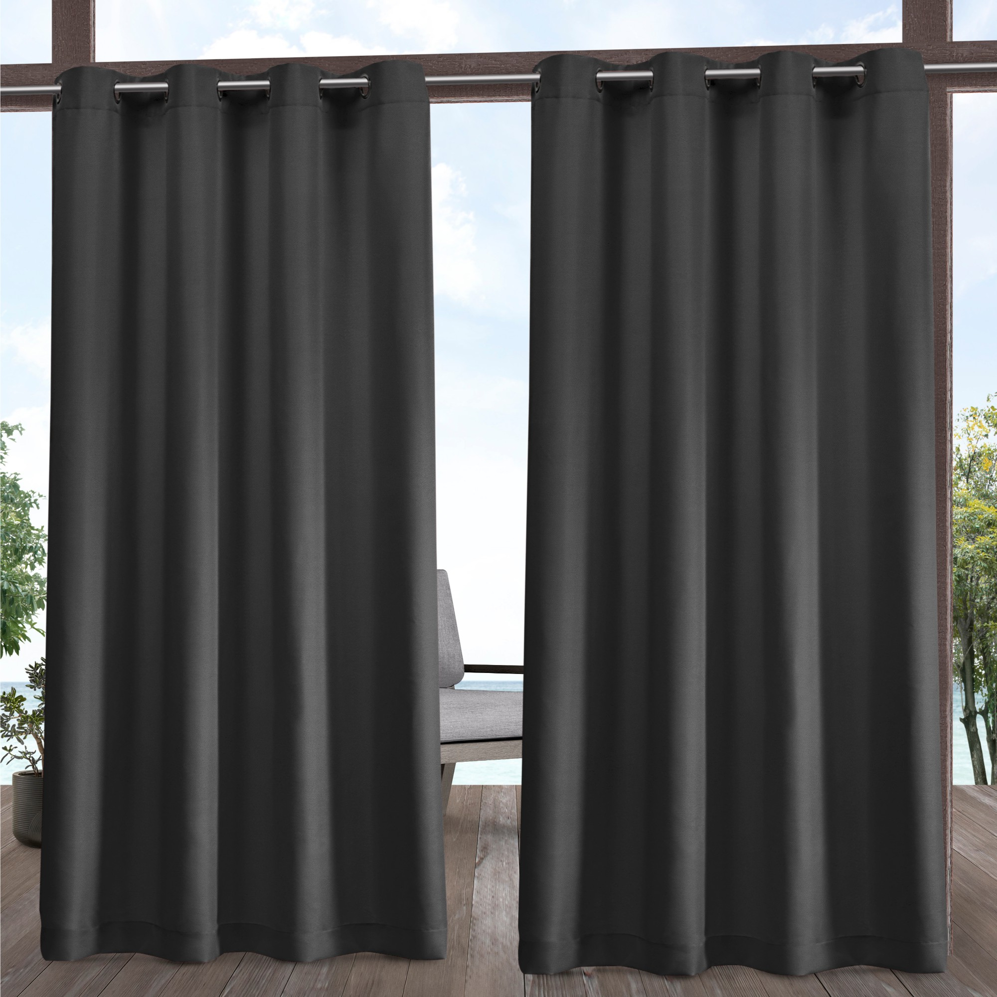 Indoor/outdoor Solid Cabana Grommet Top Window Curtain Panel Pair Within Most Recently Released Solid Grommet Top Curtain Panel Pairs (View 13 of 20)
