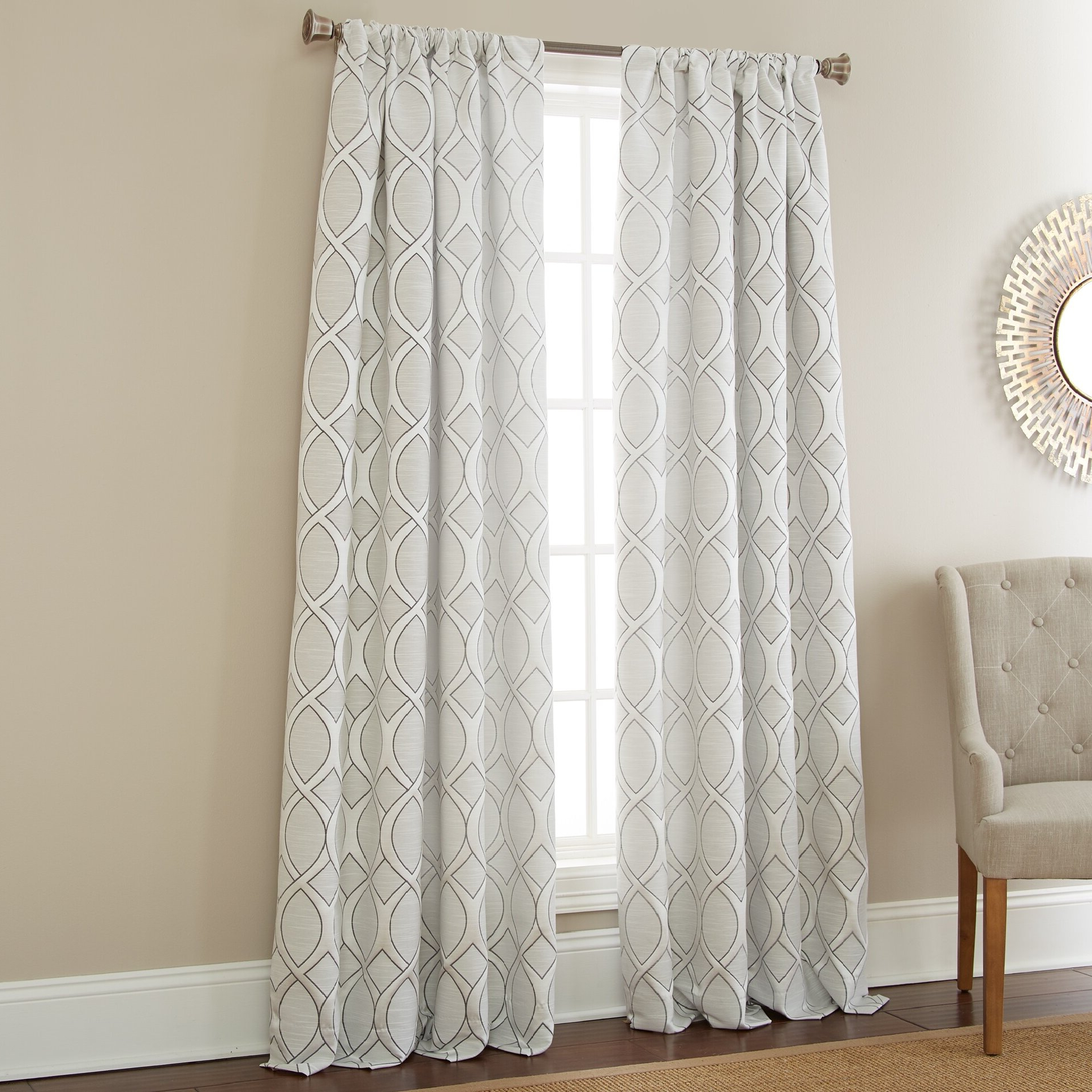 Infinity Jacquard Geometric Semi Sheer Rod Pocket Curtain Panels With Most Current Infinity Sheer Rod Pocket Curtain Panels (View 13 of 20)