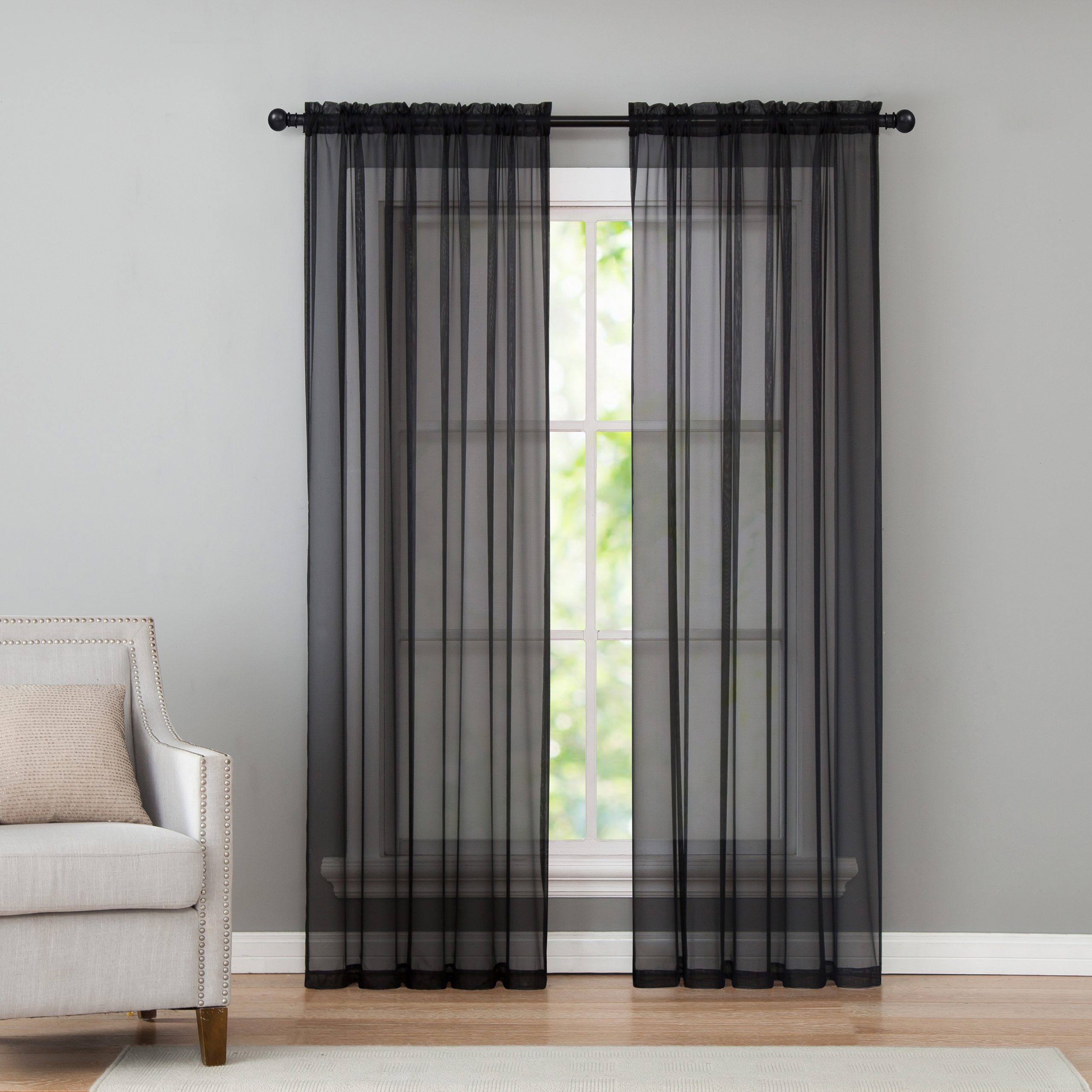 Infinity Sheer Rod Pocket Curtain Panels With Famous Vcny Home Infinity Sheer Rod Pocket Curtain Panel Pair, 50 X 84, Black (View 16 of 20)