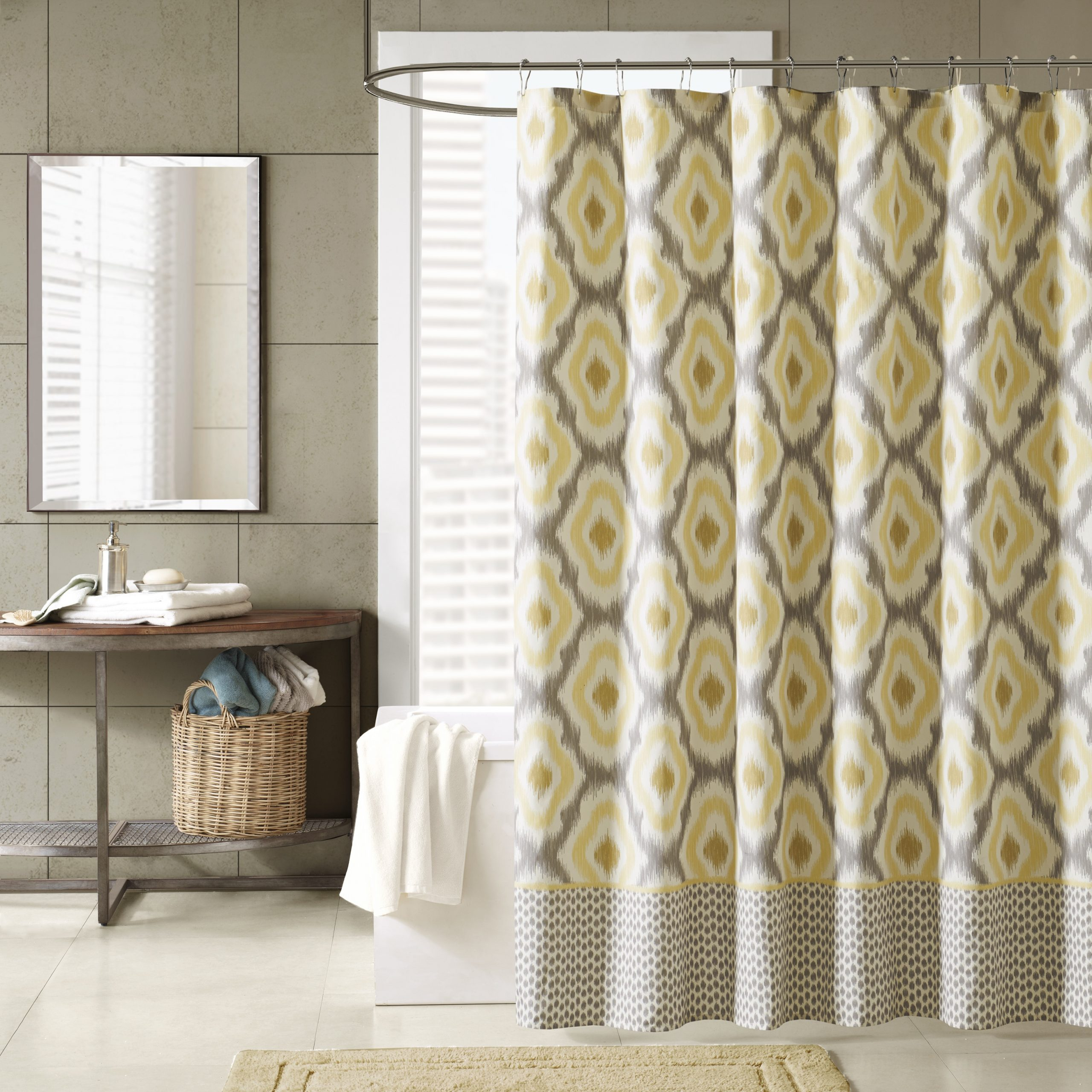 Ink Ivy Ankara Cotton Printed Single Curtain Panels Throughout 2021 Ink+ivy Ankara Cotton Printed Shower Curtain In Yellow (View 11 of 22)