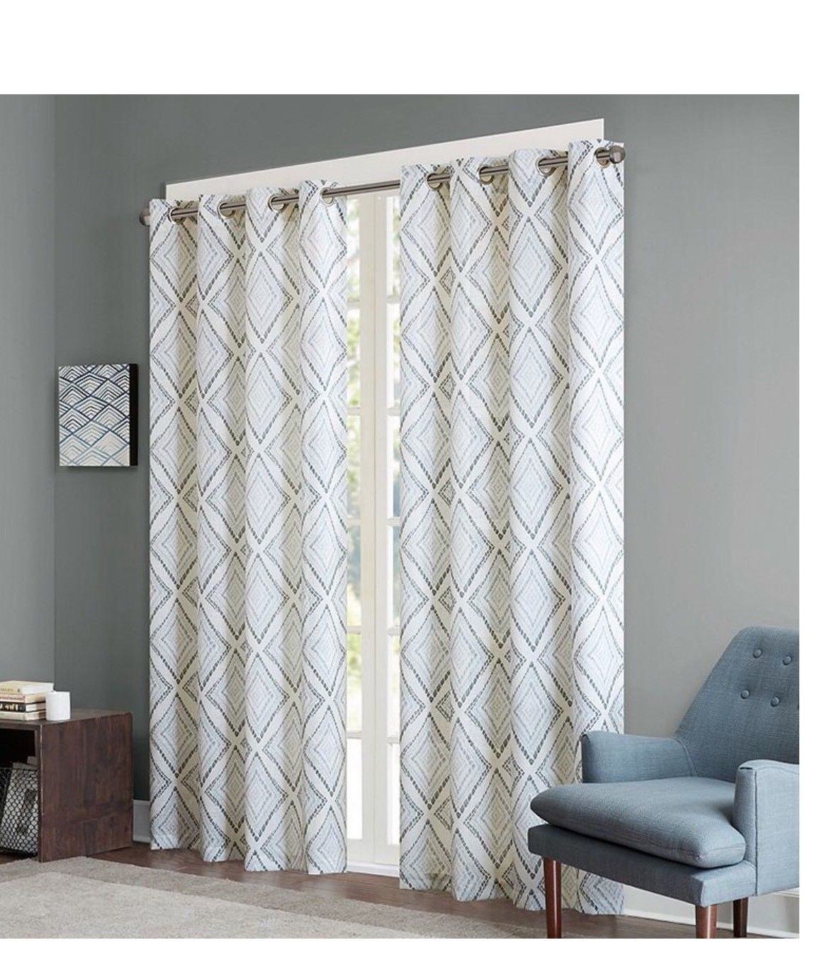 "Ink+ivy Bas Printed Etched Diamond Window Set Of 2 Panels 50x95"" Grey #ii40 720 For Famous Ink Ivy Ankara Cotton Printed Single Curtain Panels (View 9 of 22)"