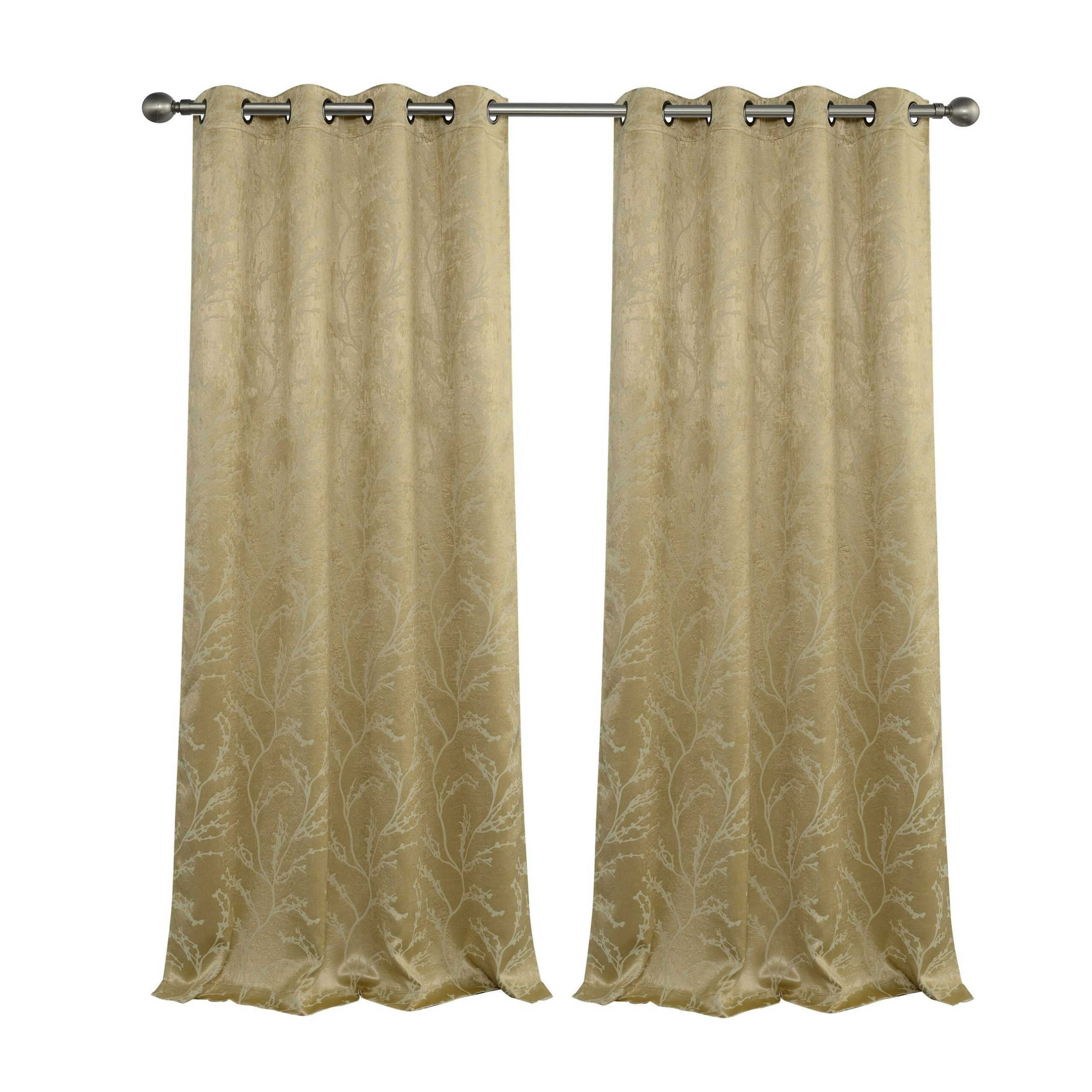 Inoue Reversible Top Floral Blackout Thermal Grommet Curtain Panels With Regard To Most Current Twig Insulated Blackout Curtain Panel Pairs With Grommet Top (View 15 of 20)