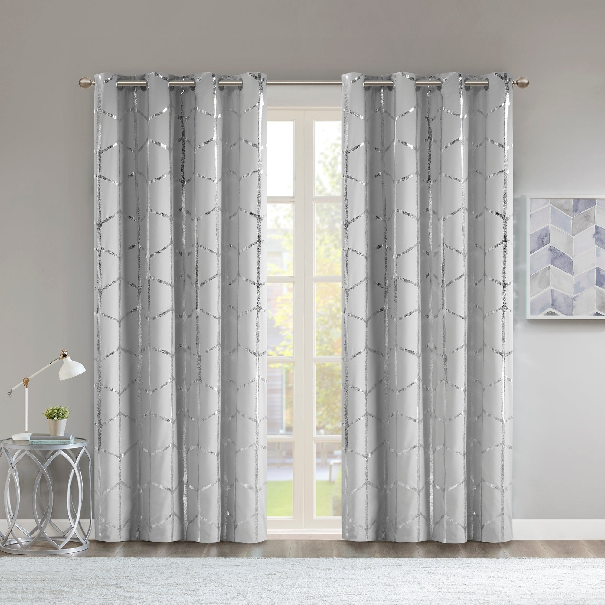 Intelligent Design Khloe Total Blackout Metallic Print Grommet Top Curtain Panel In 2020 Total Blackout Metallic Print Grommet Top Curtain Panels (View 2 of 20)