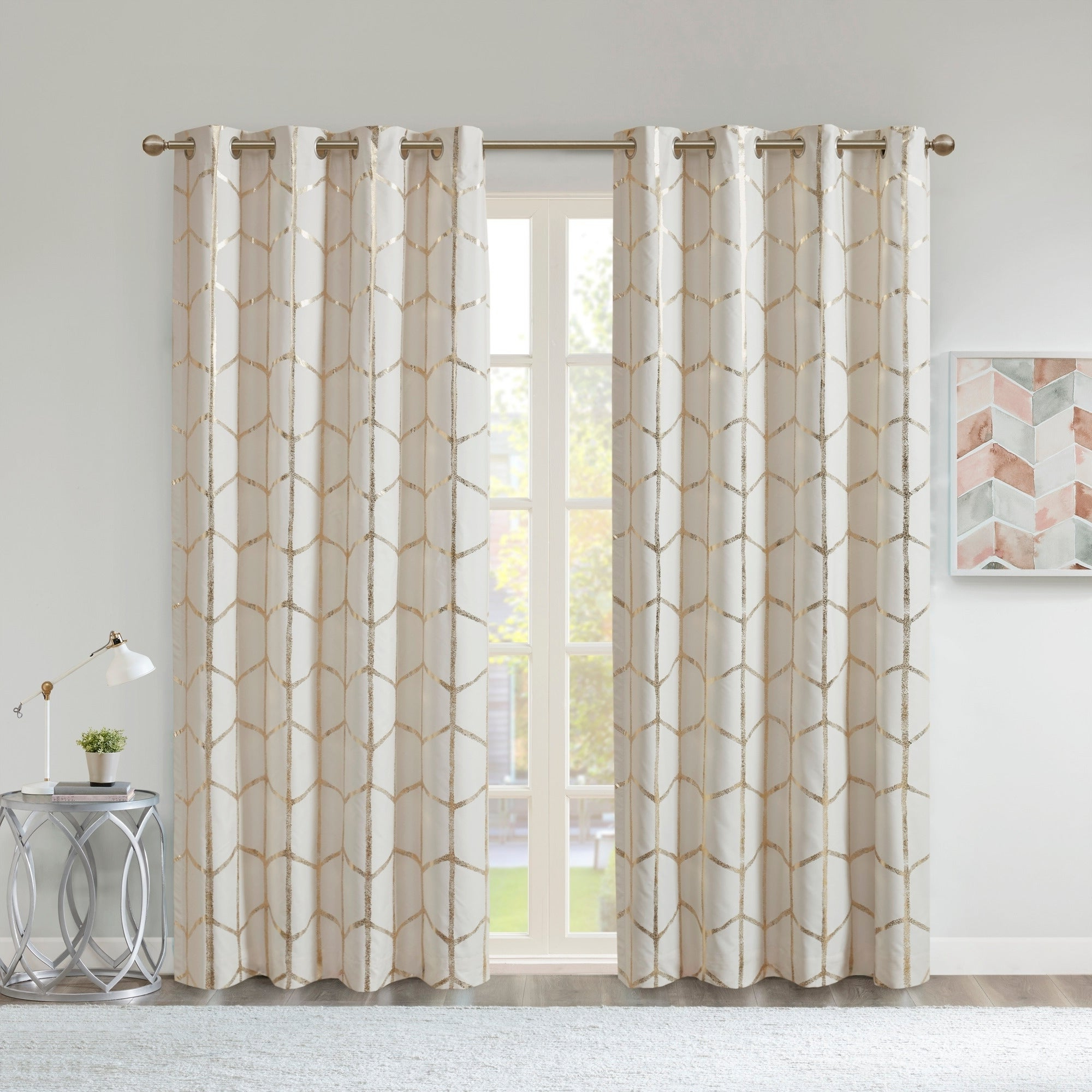 Featured Photo of Total Blackout Metallic Print Grommet Top Curtain Panels