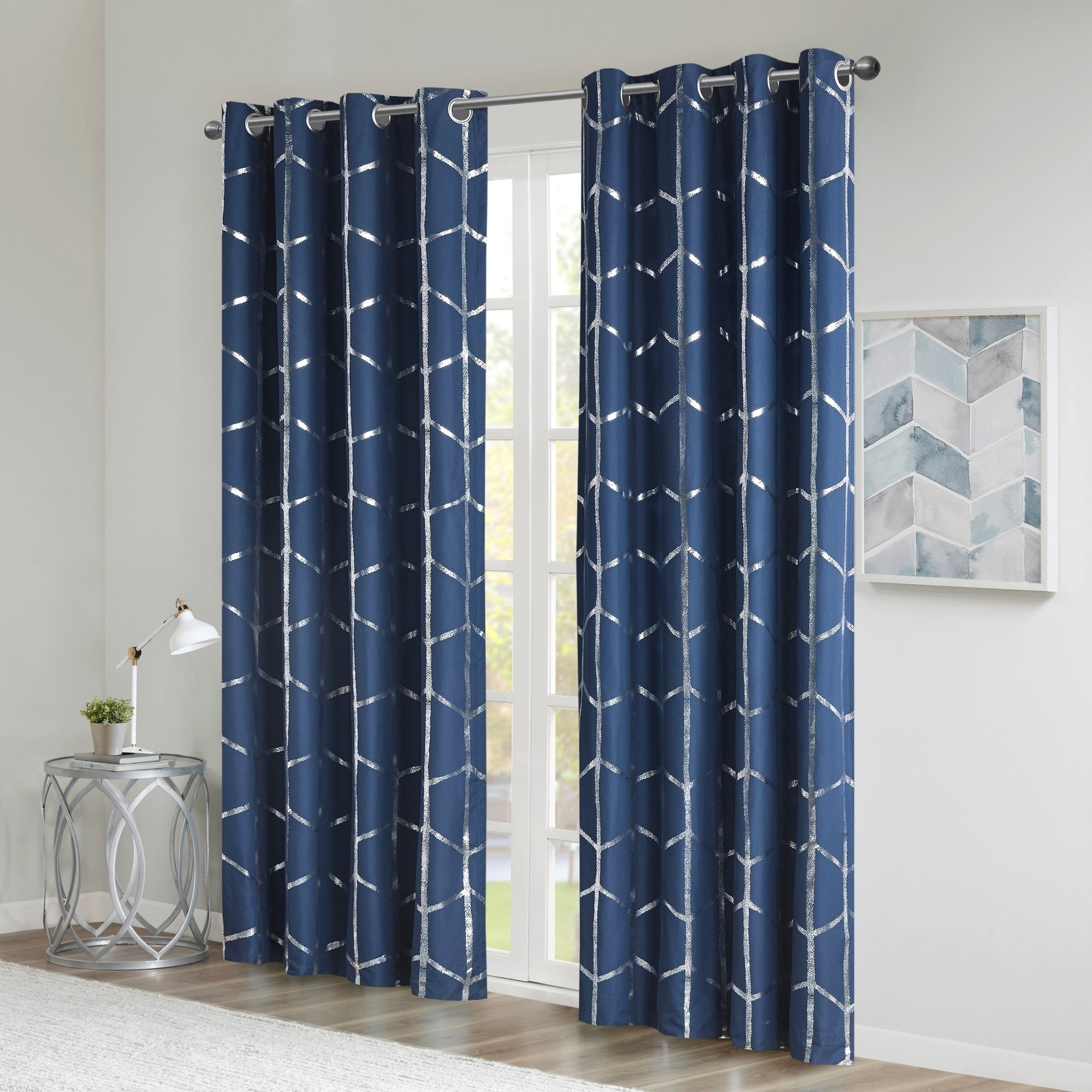 Intelligent Design Khloe Total Blackout Metallic Print Grommet Top Curtain Panel Within Well Known Total Blackout Metallic Print Grommet Top Curtain Panels (View 7 of 20)