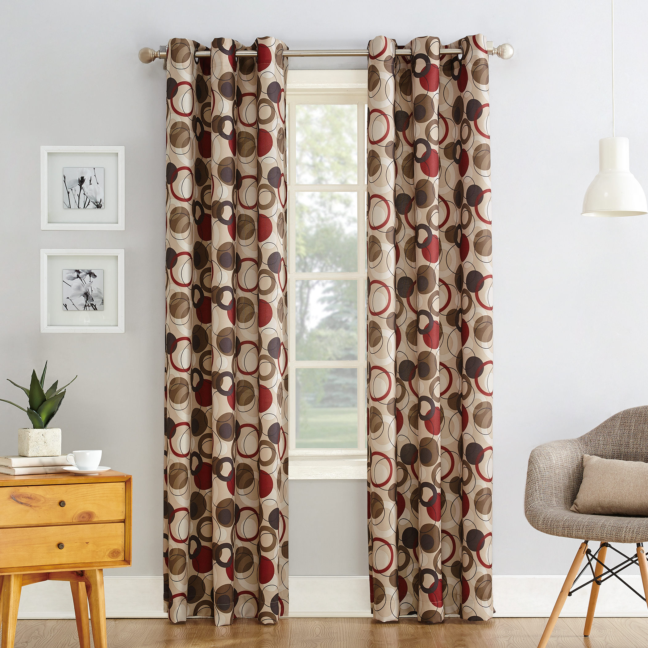 Intersect Grommet Woven Print Window Curtain Panels Inside Newest No (View 8 of 20)