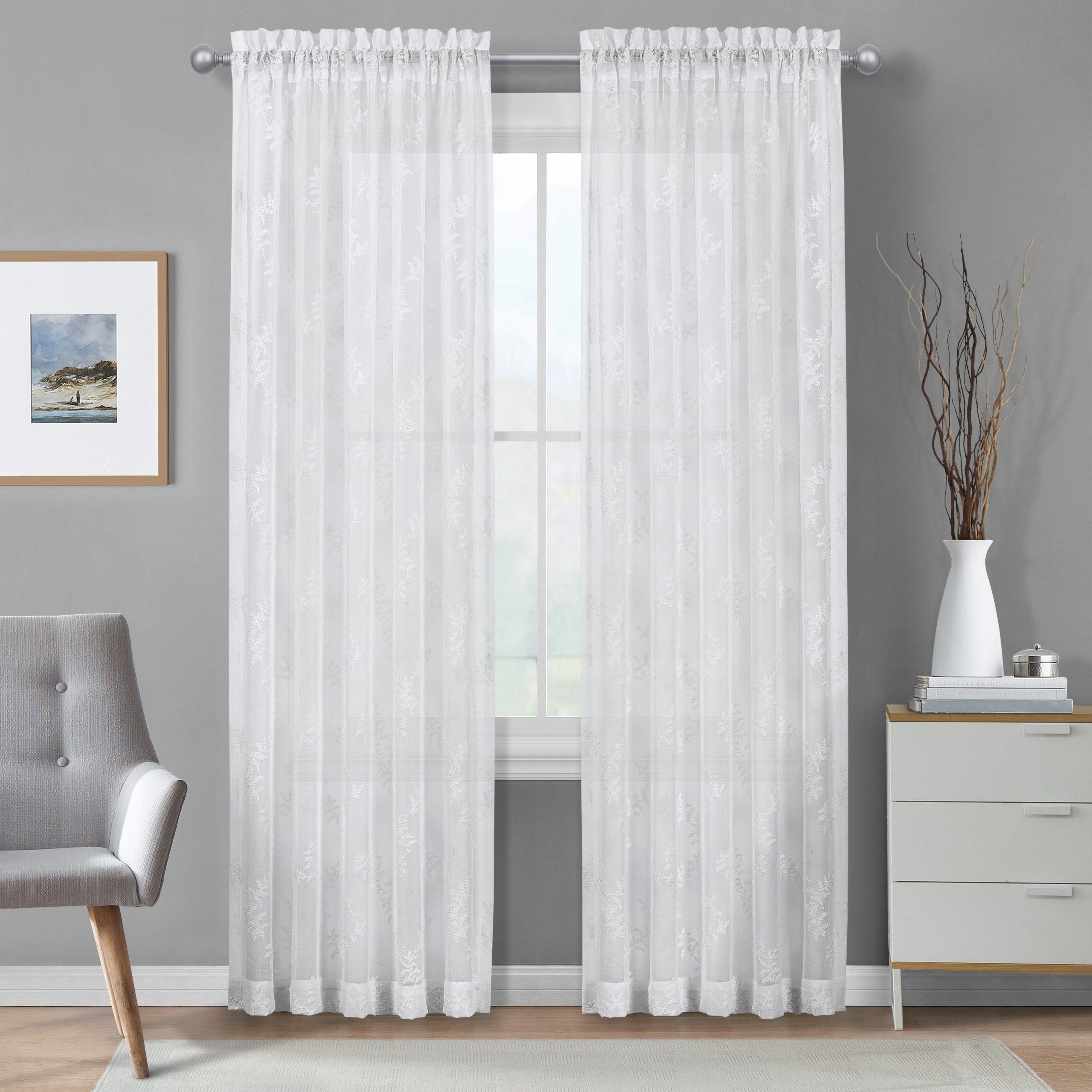 Intersect Grommet Woven Print Window Curtain Panels Intended For Popular Details About Five Queens Court Fortuna Embroidered Window Sheer Panel (View 20 of 20)