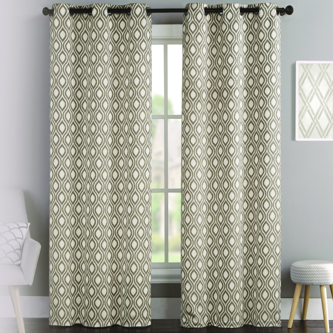 Intersect Grommet Woven Print Window Curtain Panels Regarding Current Mystique Lattice Grommet Curtain Panel Pair (View 13 of 20)