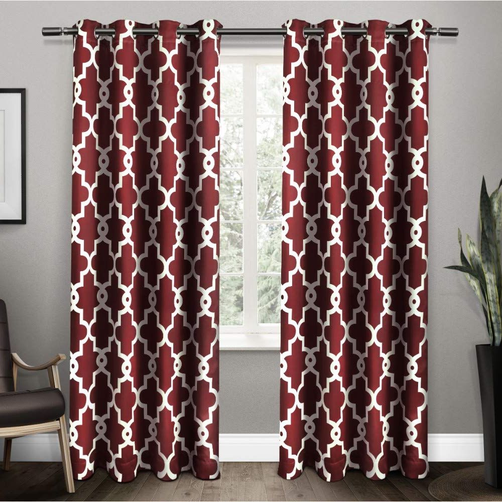 Intersect Grommet Woven Print Window Curtain Panels With Well Known Exclusive Home Curtains Ironwork Sateen Woven Blackout Window Curtain Panel Pair With Grommet Top, 52x84, Burgundy, 2 Piece (View 17 of 20)