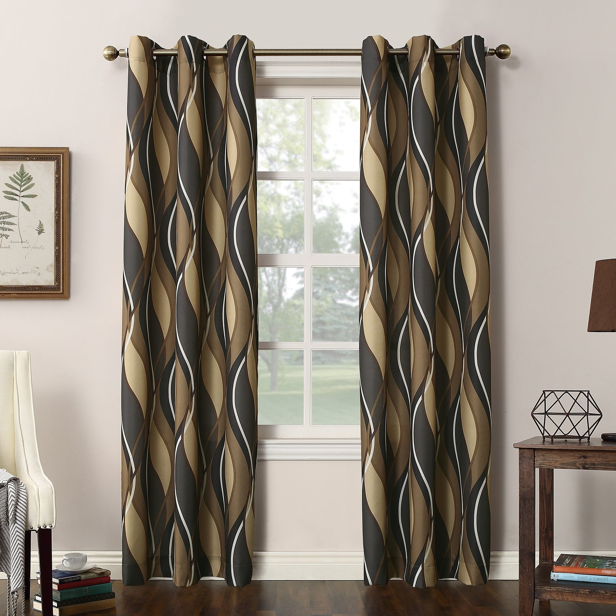 Intersect Grommet Woven Print Window Curtain Panels Within Preferred No (View 3 of 20)