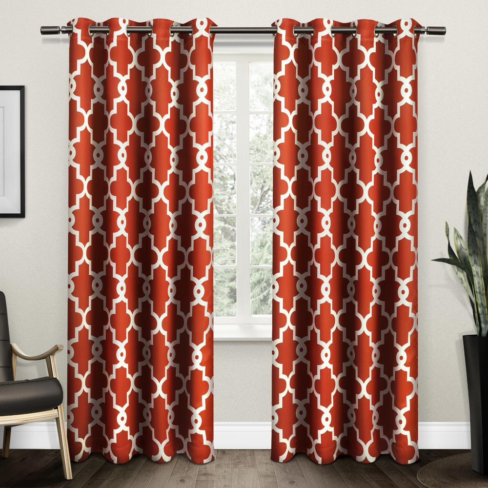 Ironwork Mecca Orange Sateen Woven Blackout Grommet Top Window Curtain Intended For Popular Geometric Print Textured Thermal Insulated Grommet Curtain Panels (View 13 of 20)