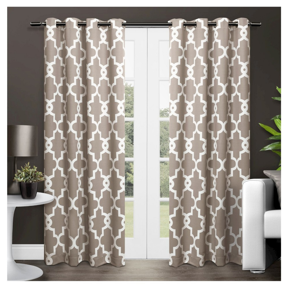 Ironwork Sateen Woven Room Darkening Window Curtain Panel Intended For Latest Keyes Blackout Single Curtain Panels (View 17 of 20)