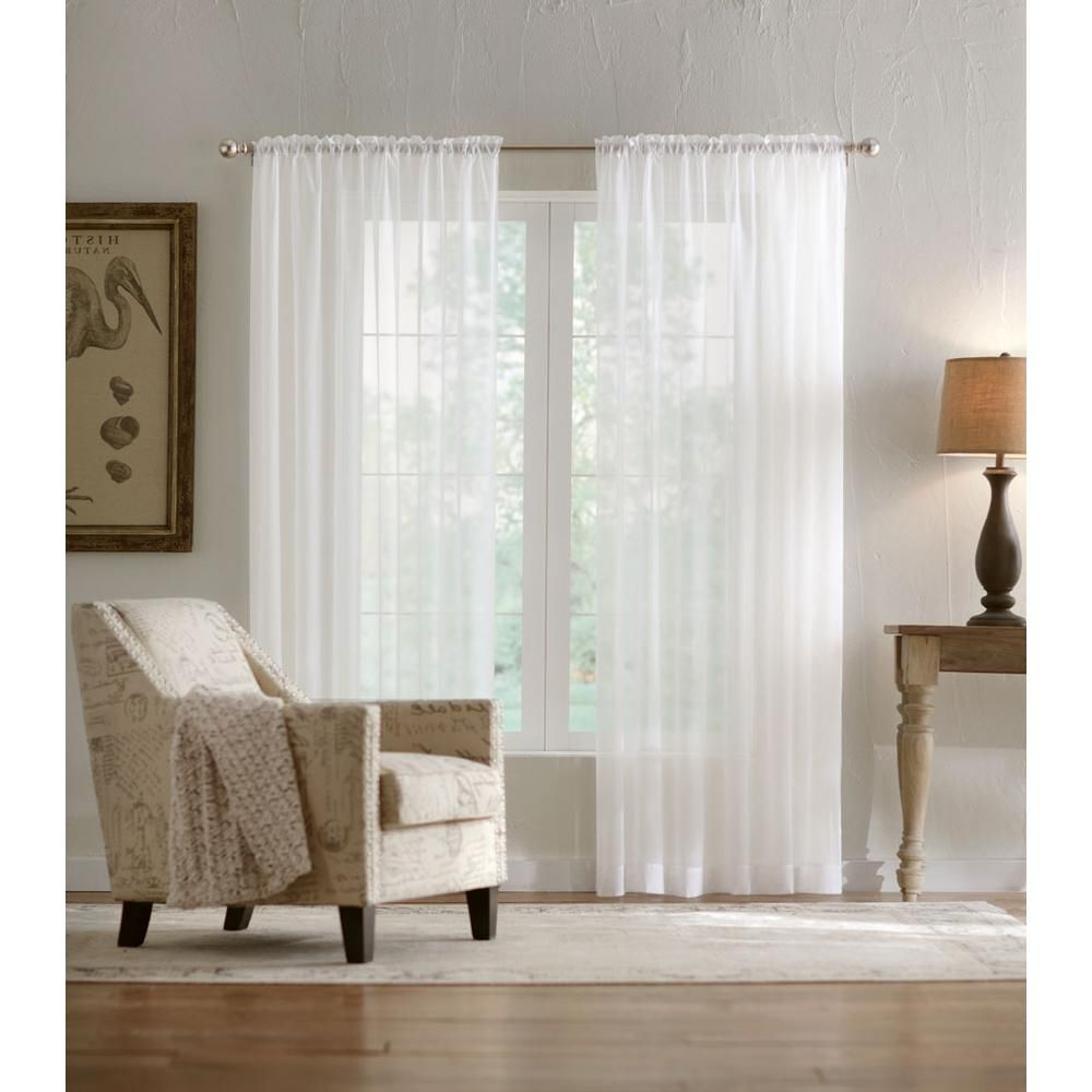 Jacob Tab Top Single Curtain Panels Throughout Most Current Home Decorators Collection Sheer Voile Window Panel In White (View 18 of 20)