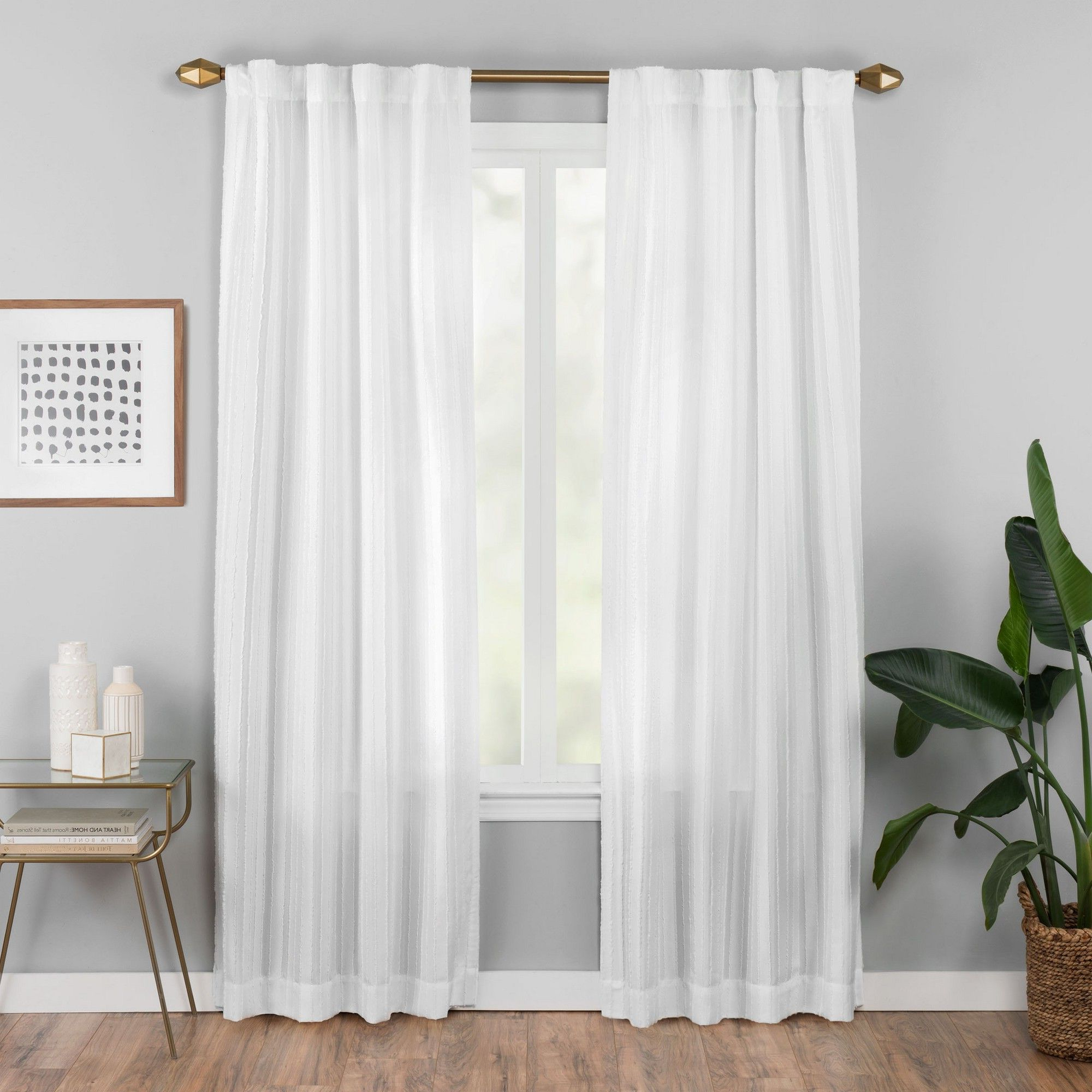 "Jacob Tab Top Single Curtain Panels With Favorite 42""x84"" Vaughan Fashion Curtain White – Vue Elements (Gallery 17 of 20)"