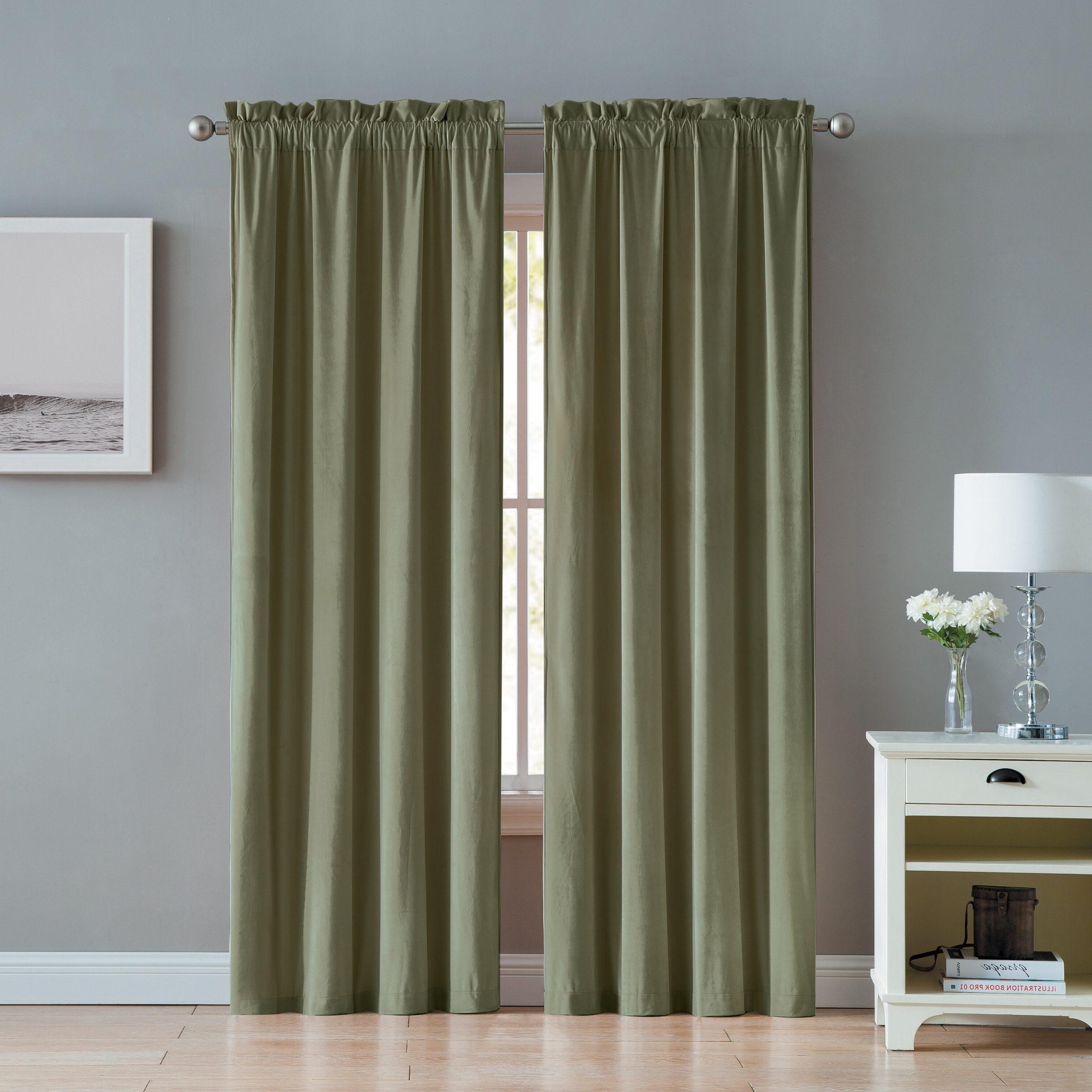 Judsonia Velvet Solid Room Darkening Rod Pocket Curtain Panels Intended For Newest Velvet Solid Room Darkening Window Curtain Panel Sets (View 11 of 20)