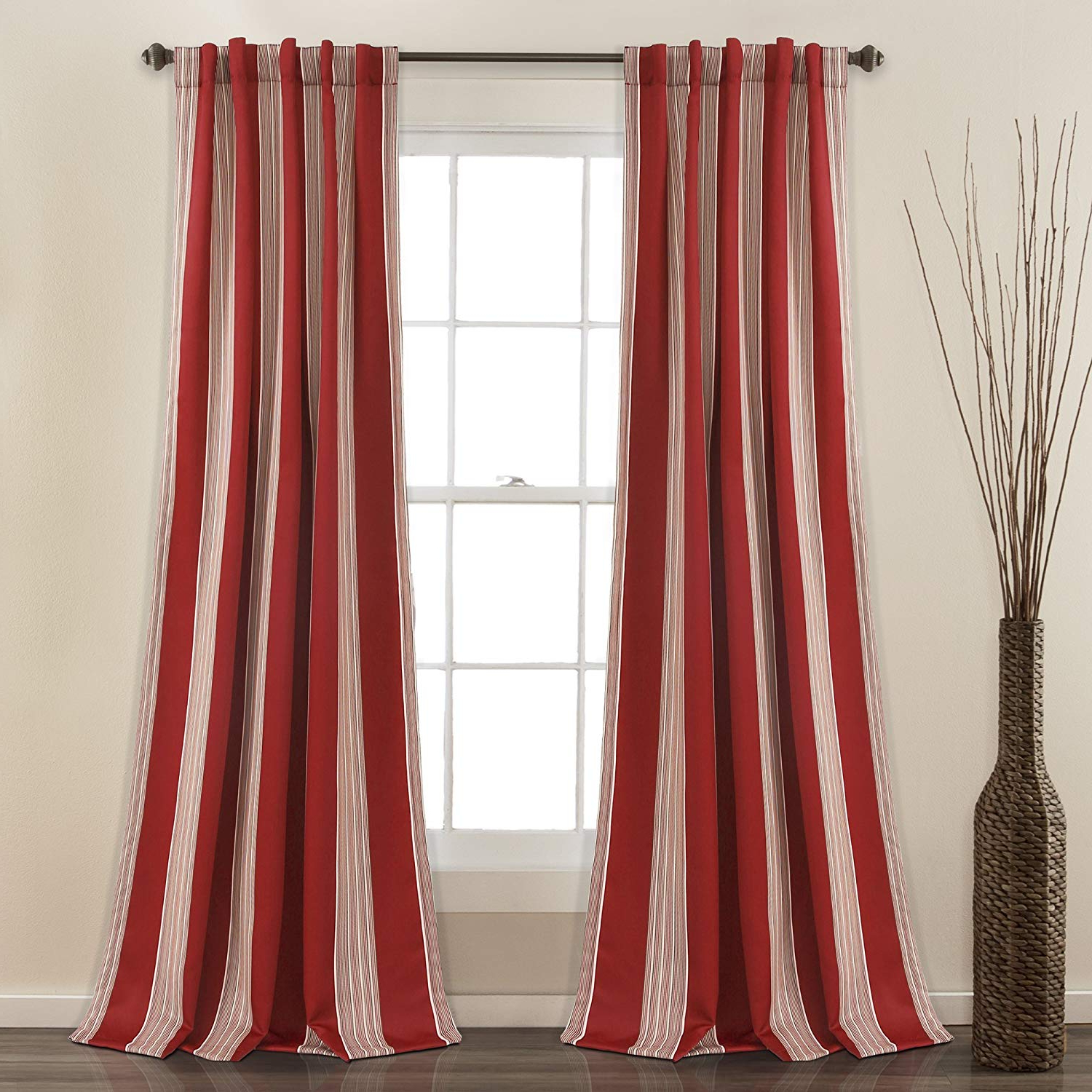 """Julia Striped Room Darkening Window Curtain Panel Pairs Intended For Well Known Lush Decor Julia Stripe Room Darkening Window Curtain Panel Pair 84"""" X 52""""  Red (Gallery 2 of 20)"""