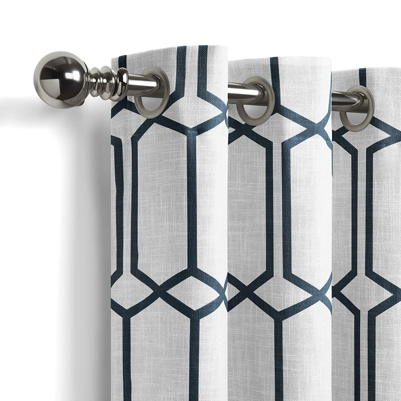 "Kaiden Geometric Room Darkening Window Curtains Inside Newest Elrene Home Fashions Kaiden Geometric Room Darkening Window Curtain Panel,  52"" W X 95"" L (1), Indigo (Gallery 4 of 20)"