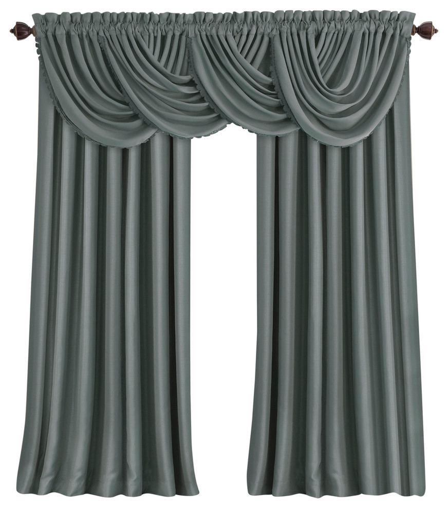 Kaiden Geometric Room Darkening Window Curtains With Regard To Popular All Seasons Blackout Window Curtain, Dusty Blue, 52 In. X 95 In (View 9 of 20)