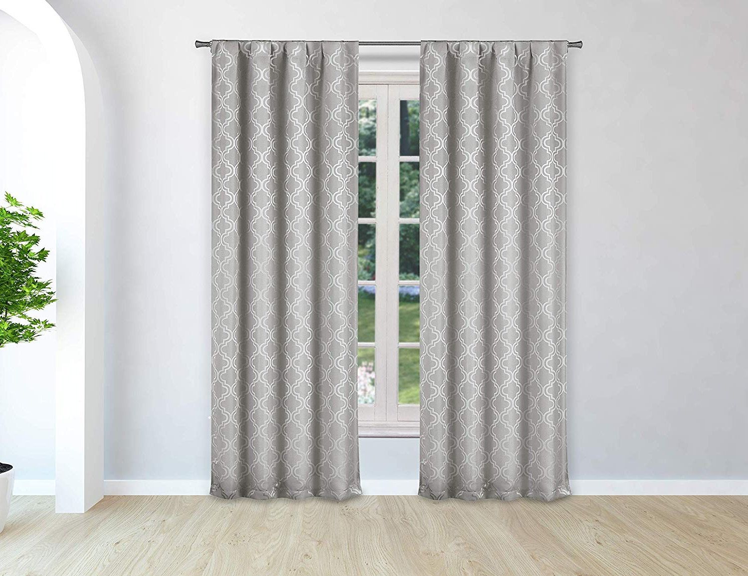 Kelvin Pole Top Geometric Pattern Linen Textured Blackout With Most Recently Released Geometric Linen Room Darkening Window Curtains (View 6 of 20)
