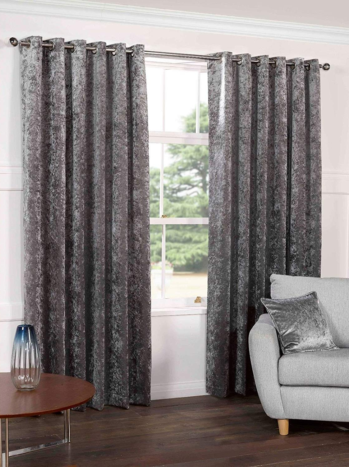 "Kensington Luxury Crushed Velvet Lined Curtains Panels With Grommet Eyelet Top Steel Silver Gray 66"" Wide X 90"" Drop Inside Famous Velvet Dream Silver Curtain Panel Pairs (View 5 of 20)"