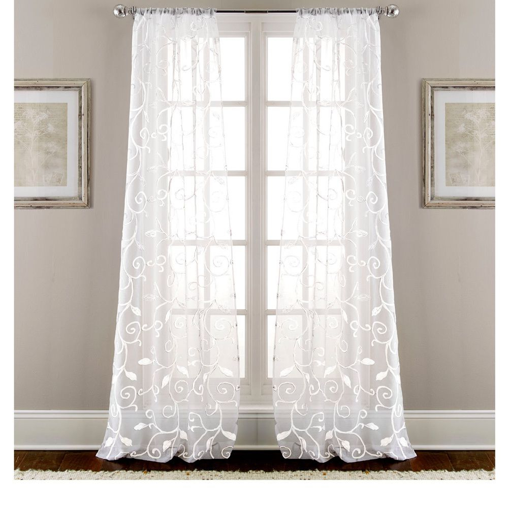 Kida Embroidered Sheer Curtain Panels Intended For Newest These Stunning Sheen Curtains Offer A Leaf Swirl Design (Gallery 9 of 20)